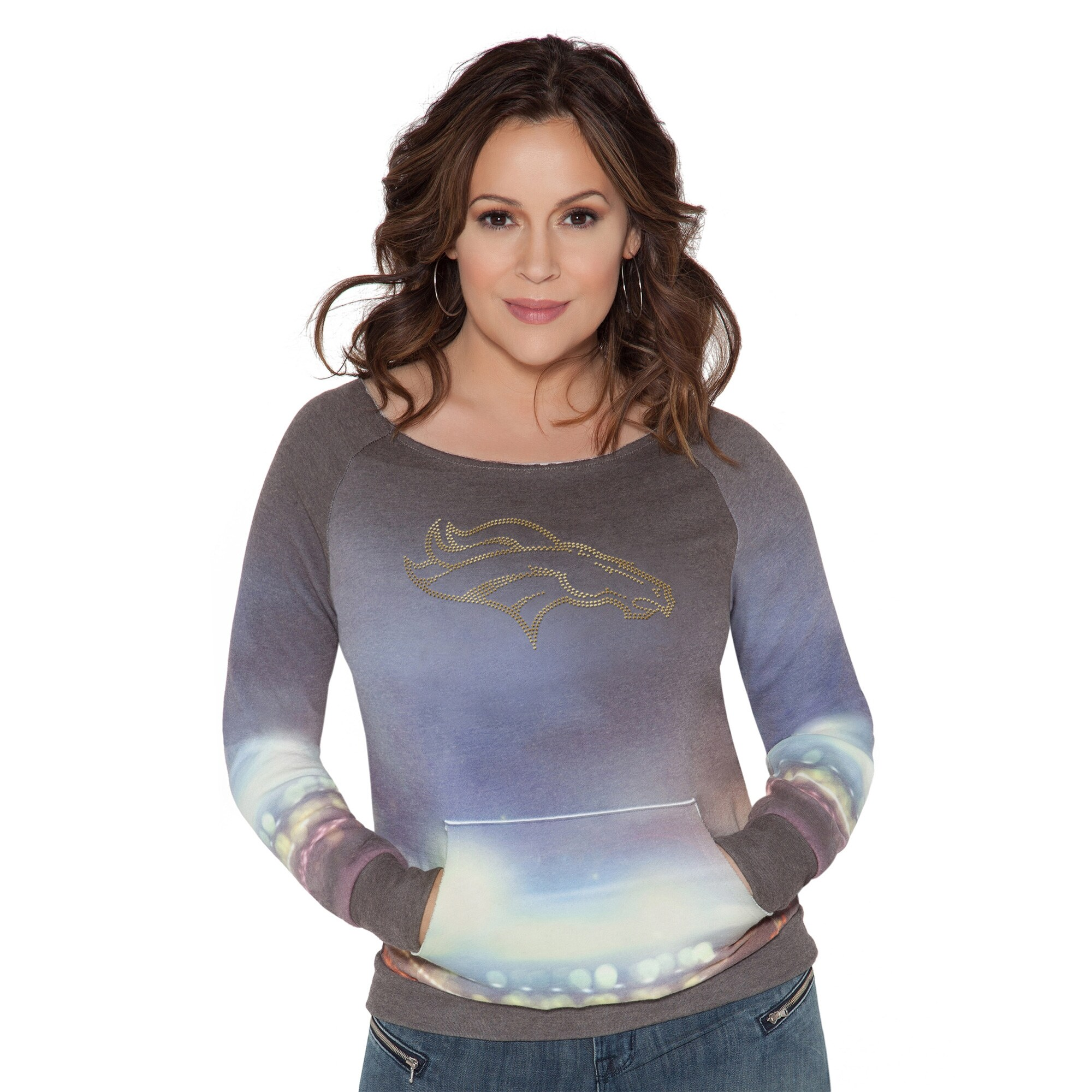 Denver Broncos Touch by Alyssa Milano Women's Touch Bright Lights Sublimated Crew Pullover Sweatshirt - Multi