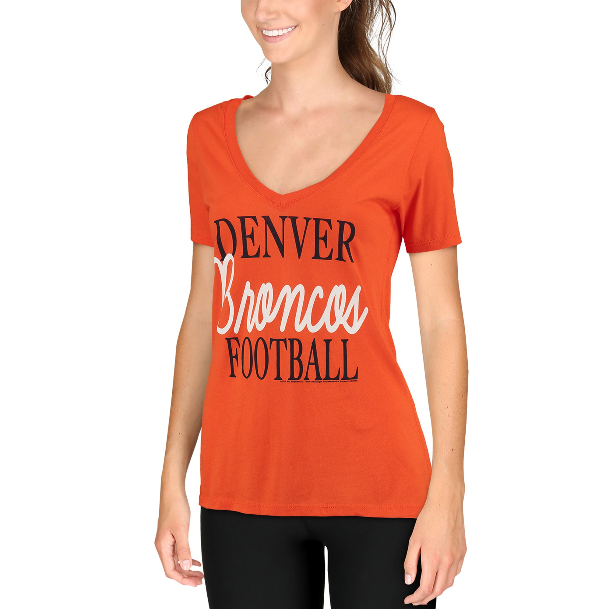 Denver Broncos Women's Victory Play 2-Hit V-Neck T-Shirt - Orange