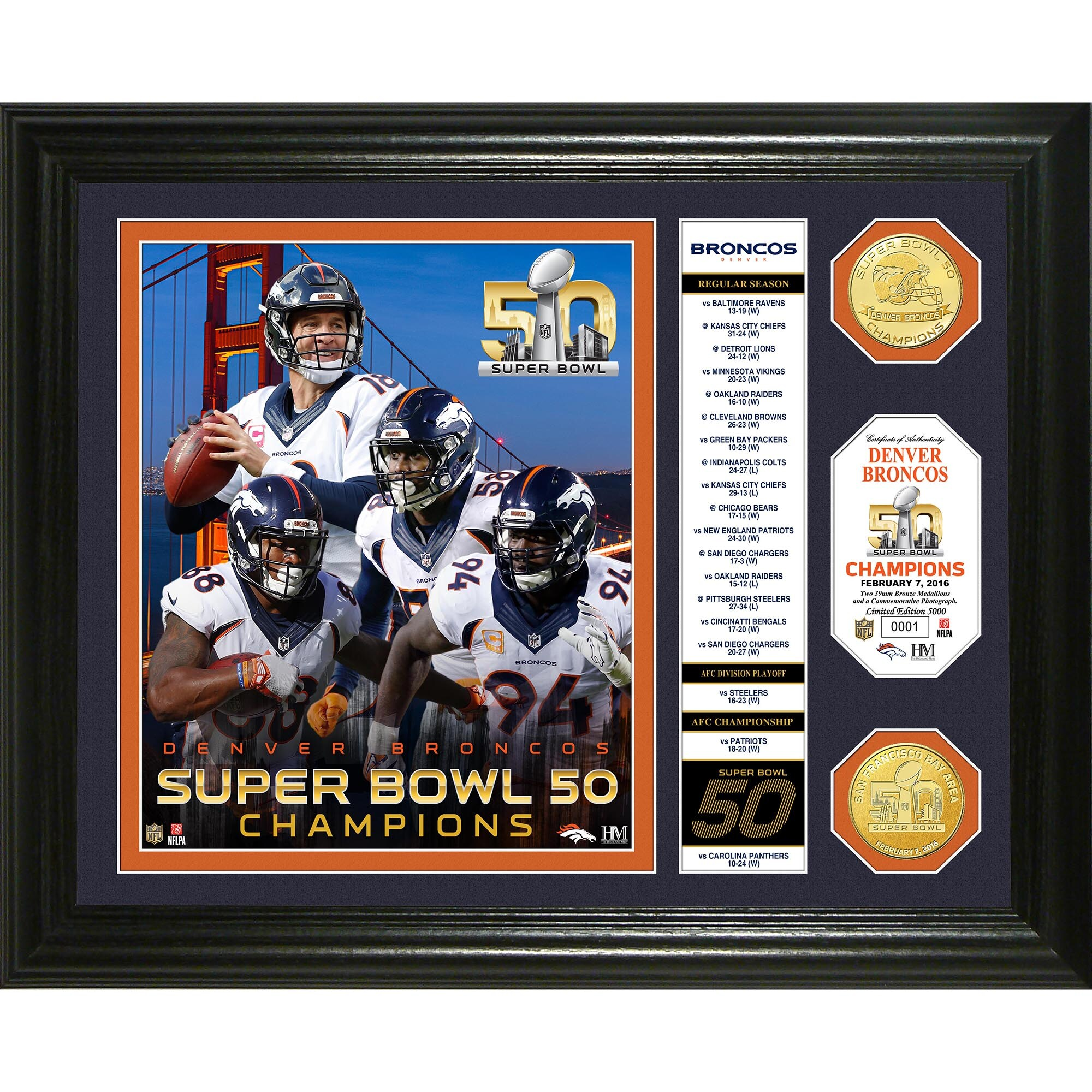 Denver Broncos Highland Mint Super Bowl 50 Champions Banner Photomint