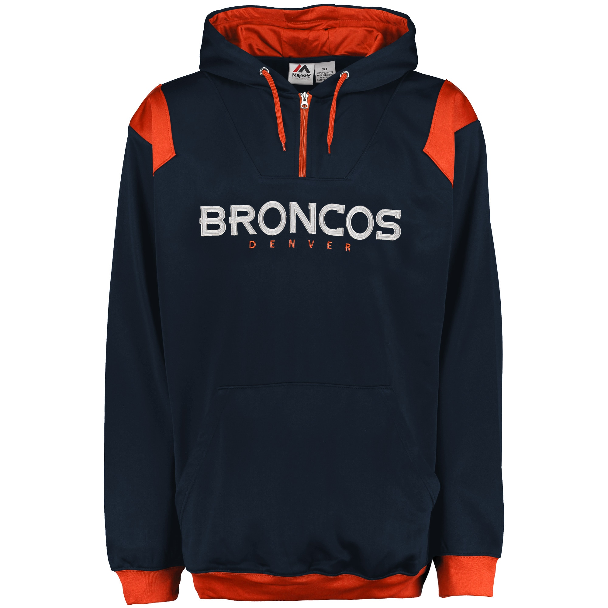 Denver Broncos Majestic Big & Tall 1/4-Zip Pullover Hoodie - Navy