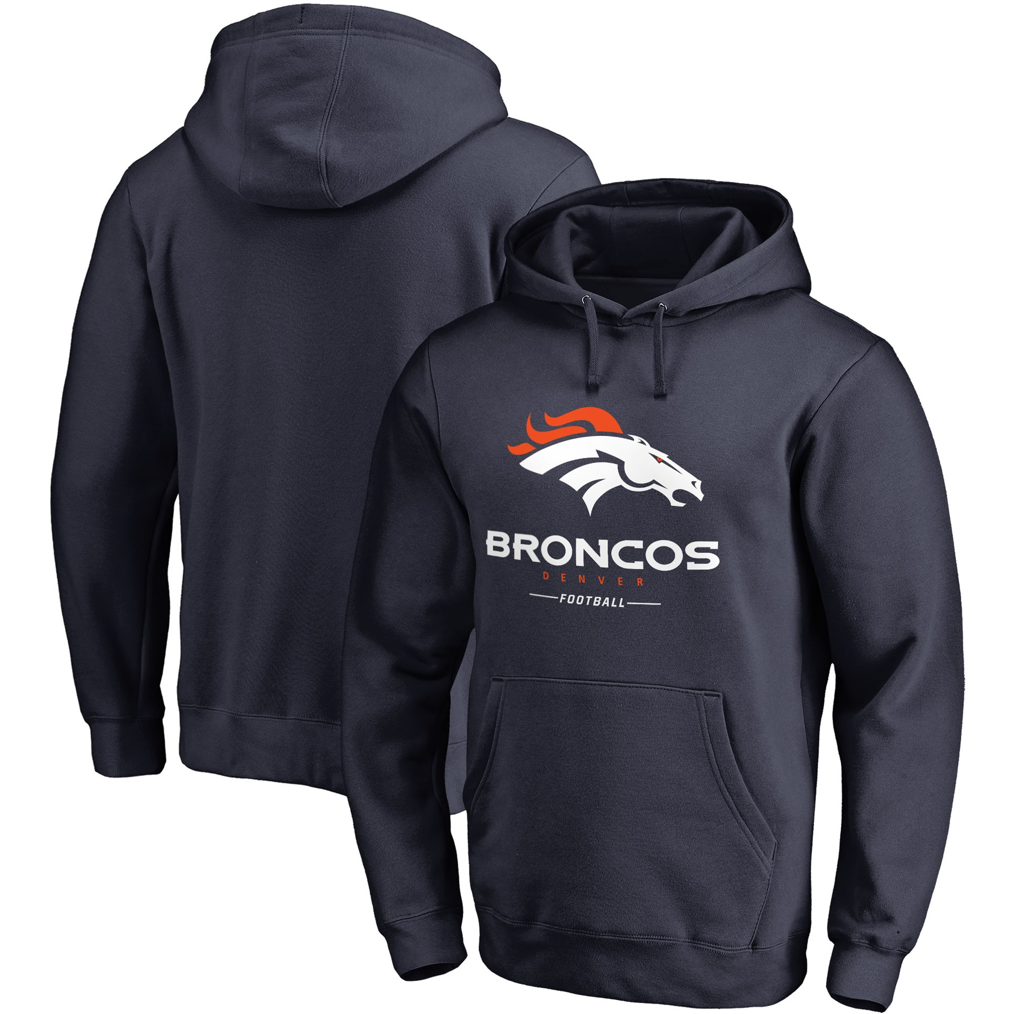 Denver Broncos NFL Pro Line Big & Tall Team Lockup Pullover Hoodie - Navy