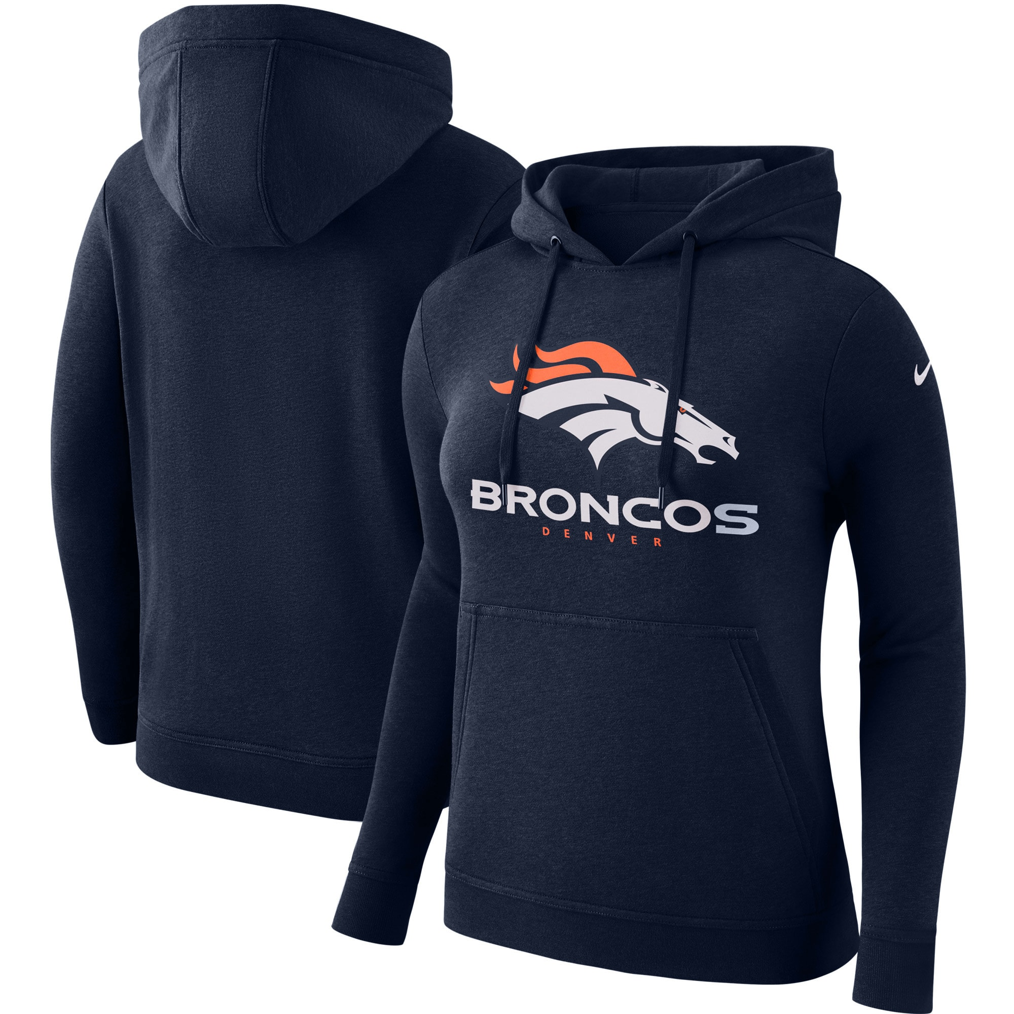 Denver Broncos Nike Women's Club Tri-Blend Pullover Hoodie - Navy