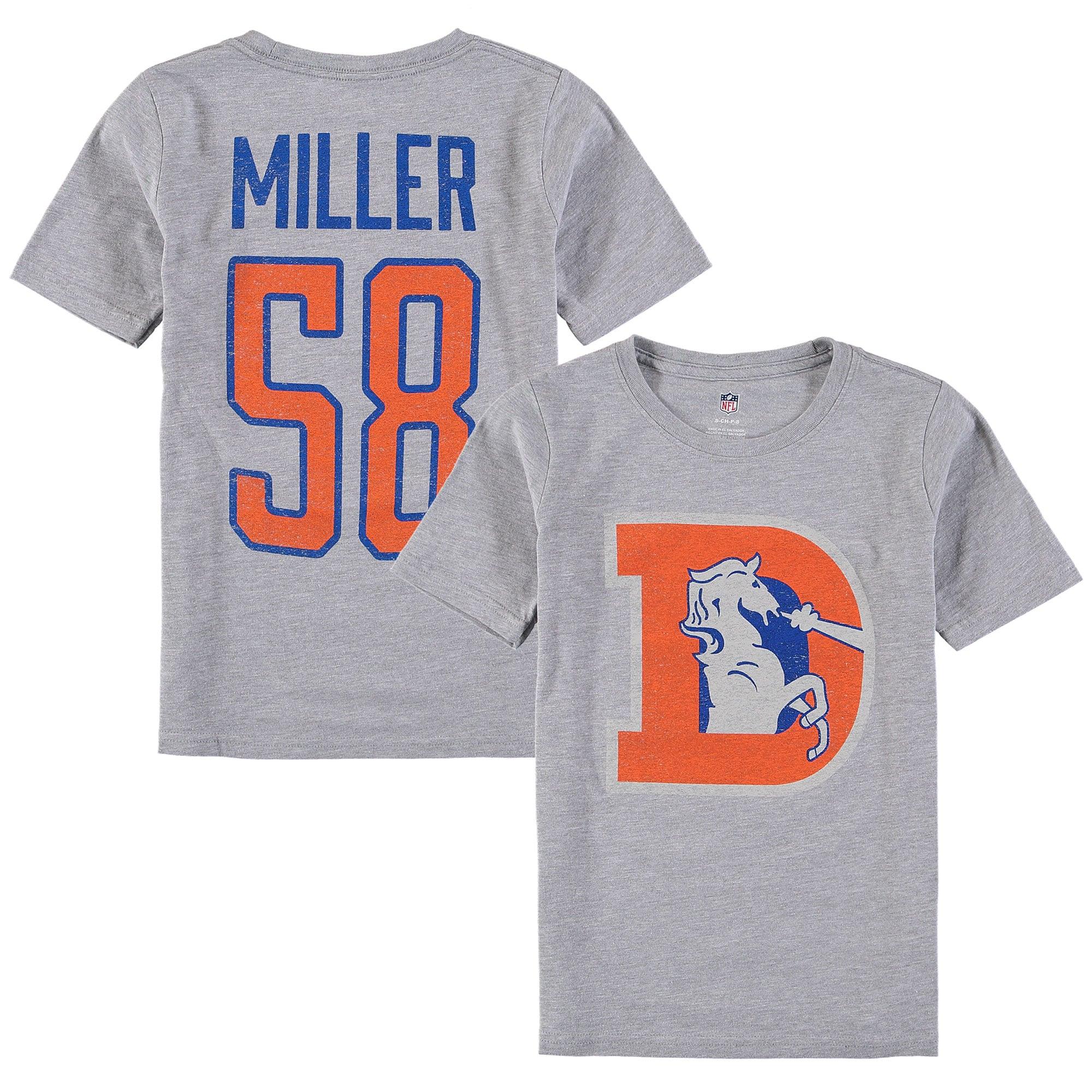 Von Miller Denver Broncos Youth Vintage Distressed Name & Number T-Shirt - Heathered Gray