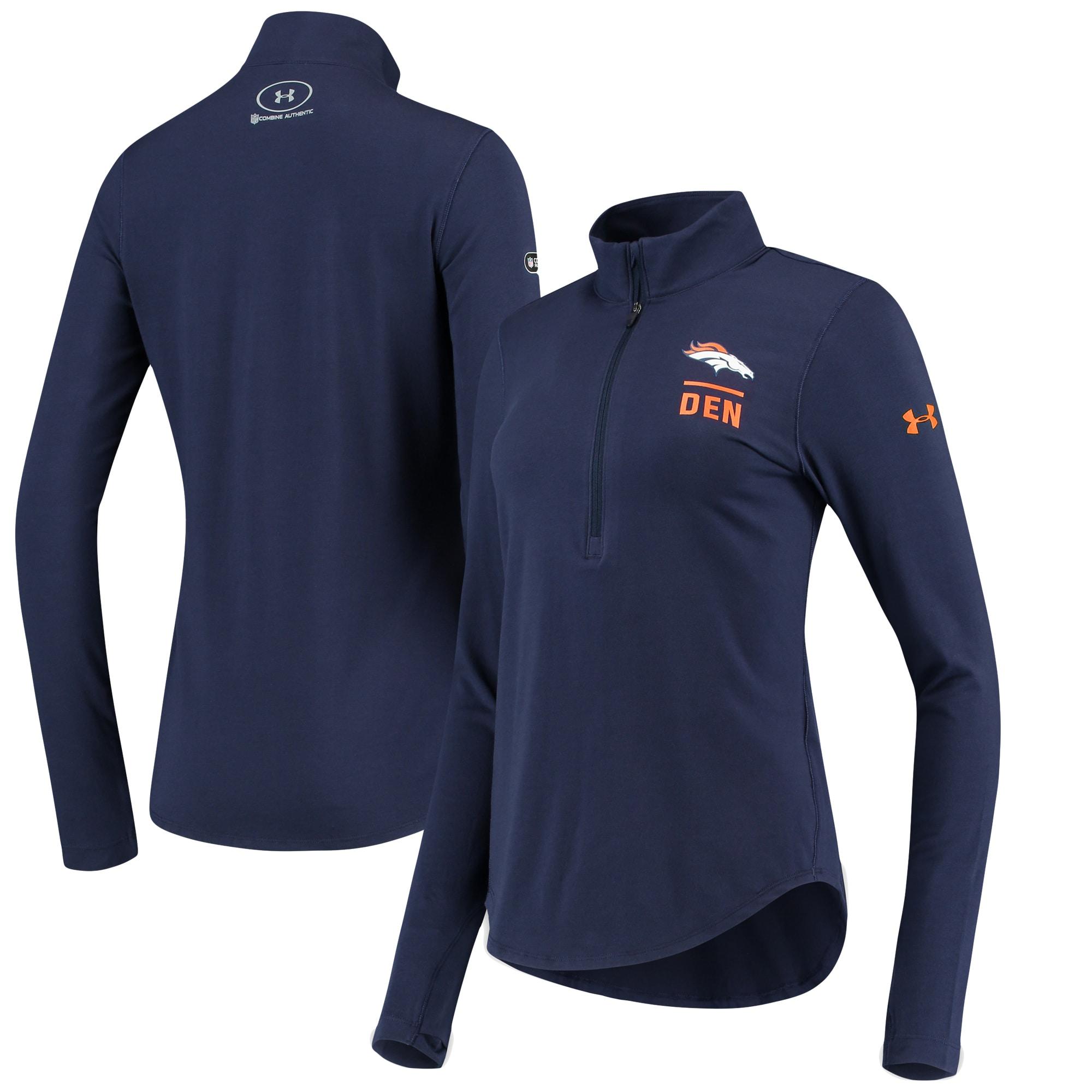 Denver Broncos Under Armour Women's Combine Authentic Favorites Performance Tri-Blend Half-Zip Pullover Jacket - Navy