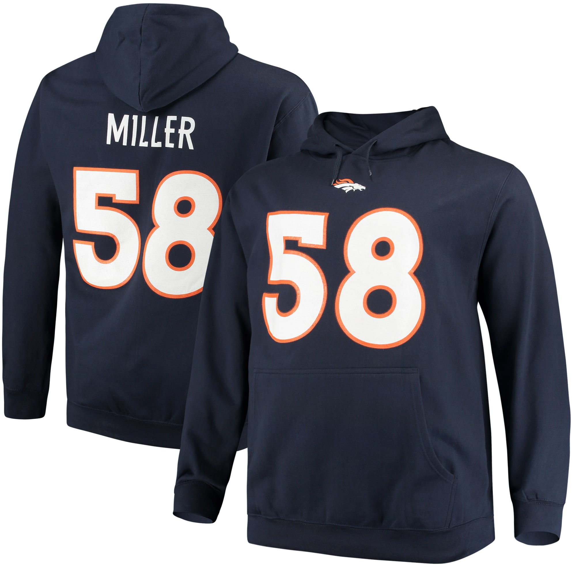 Von Miller Denver Broncos Majestic Big & Tall Name & Number Pullover Hoodie - Navy