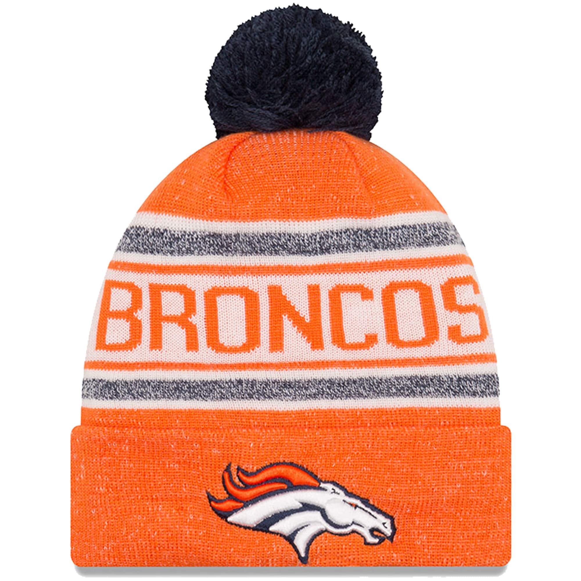 Denver Broncos New Era Toasty Cover Cuffed Knit Hat with Pom - Orange