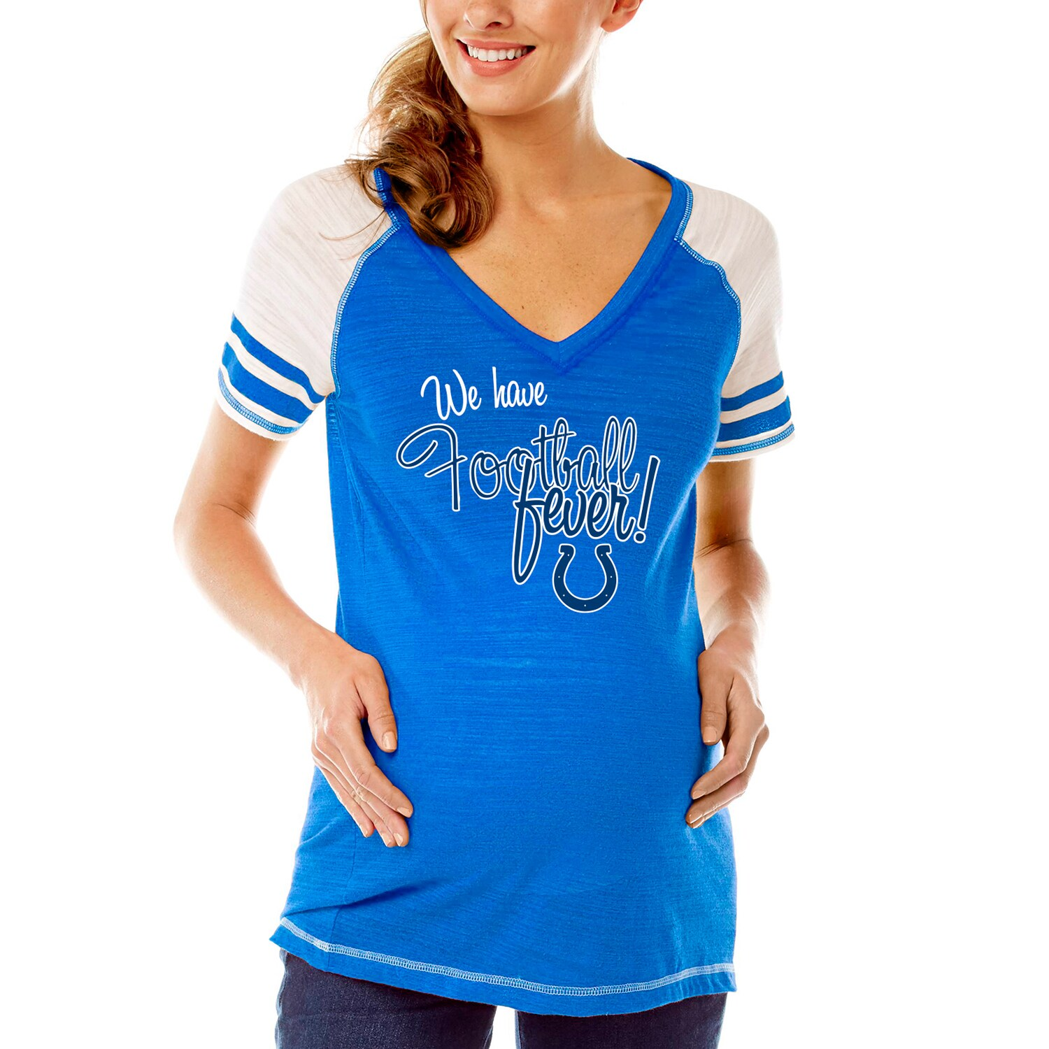 Indianapolis Colts Soft as a Grape Women's Maternity Football Fever V-Neck T-Shirt - Royal