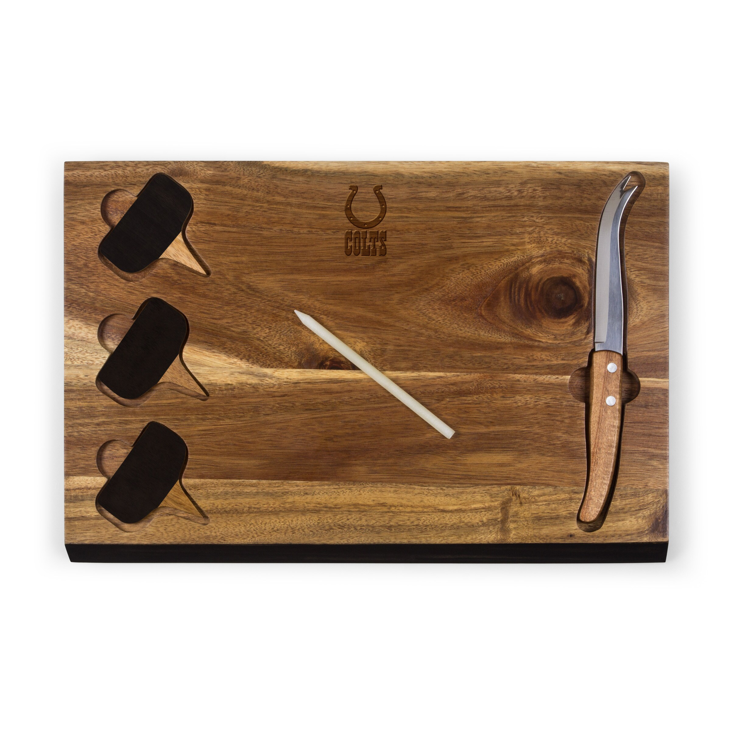 Indianapolis Colts Delio Acacia Cheese Board with Acacia Markers