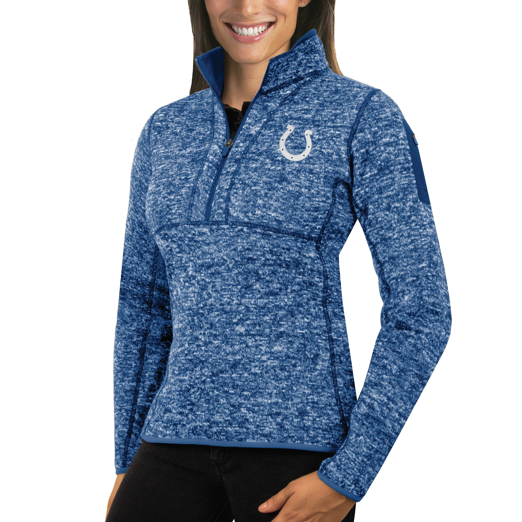 Indianapolis Colts Antigua Women's Fortune Half-Zip Sweater - Heathered Royal