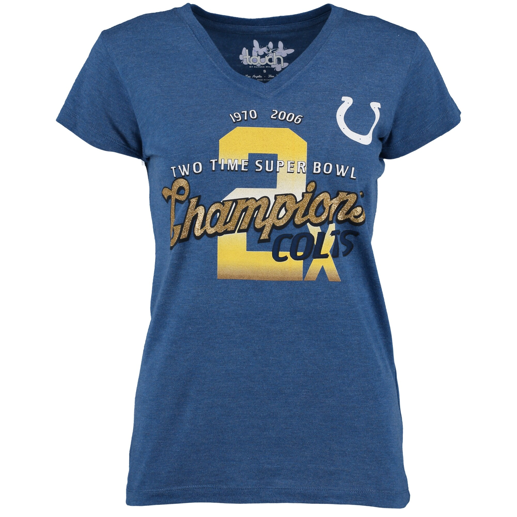 Indianapolis Colts Touch by Alyssa Milano Women's On the Fifty 2-Time Super Bowl Champions Glitter T-Shirt - Royal