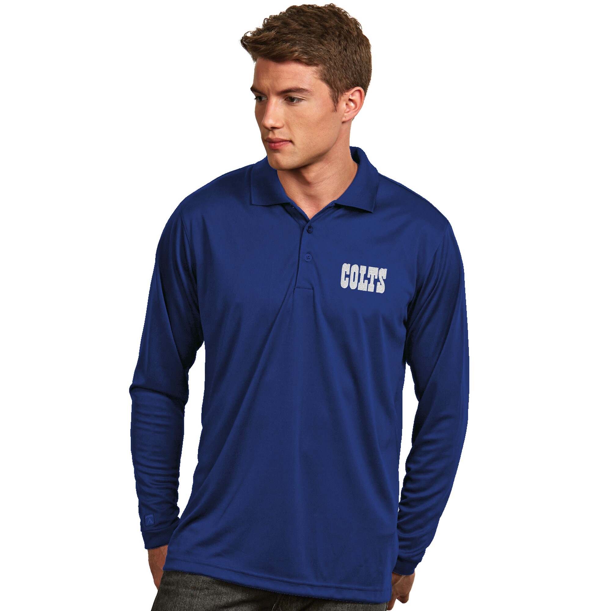 Indianapolis Colts Antigua Exceed Desert Dry X-tra Lite Long Sleeve Polo - Royal
