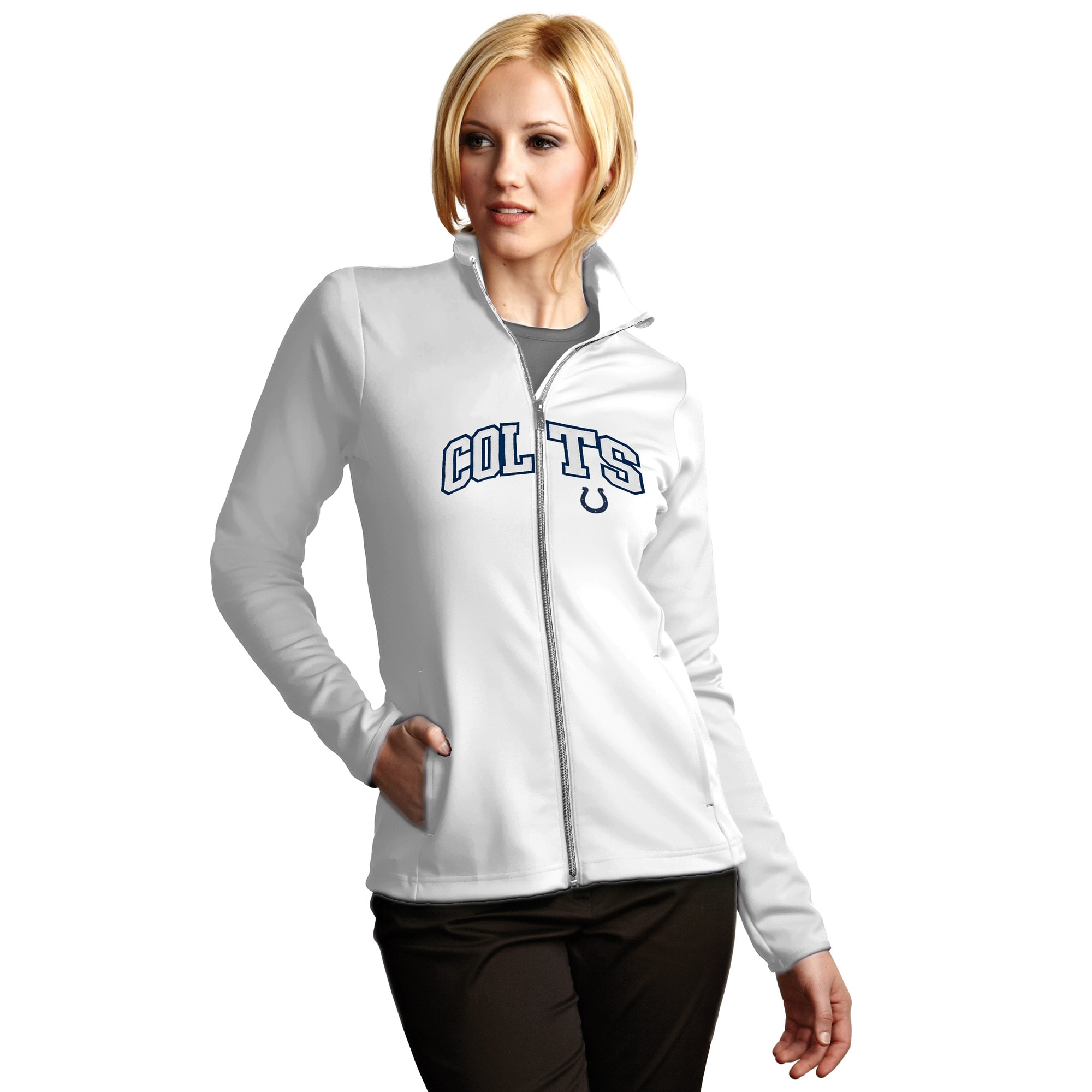 Indianapolis Colts Antigua Women's Leader Full Chest Graphic Desert Dry Full-Zip Jacket - White