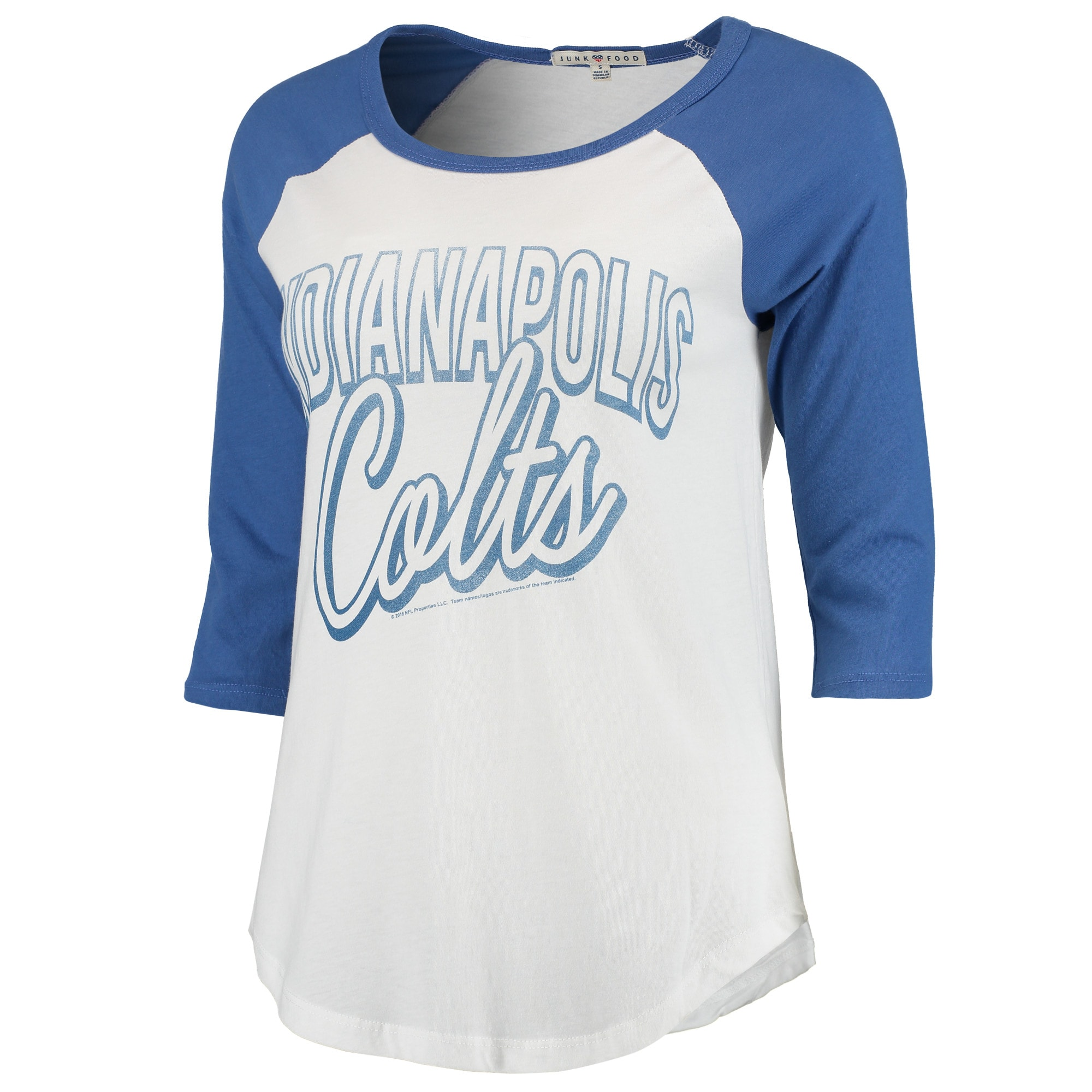 Indianapolis Colts Women's Play Action Vintage 3/4-Sleeve Raglan T-Shirt - White/Royal