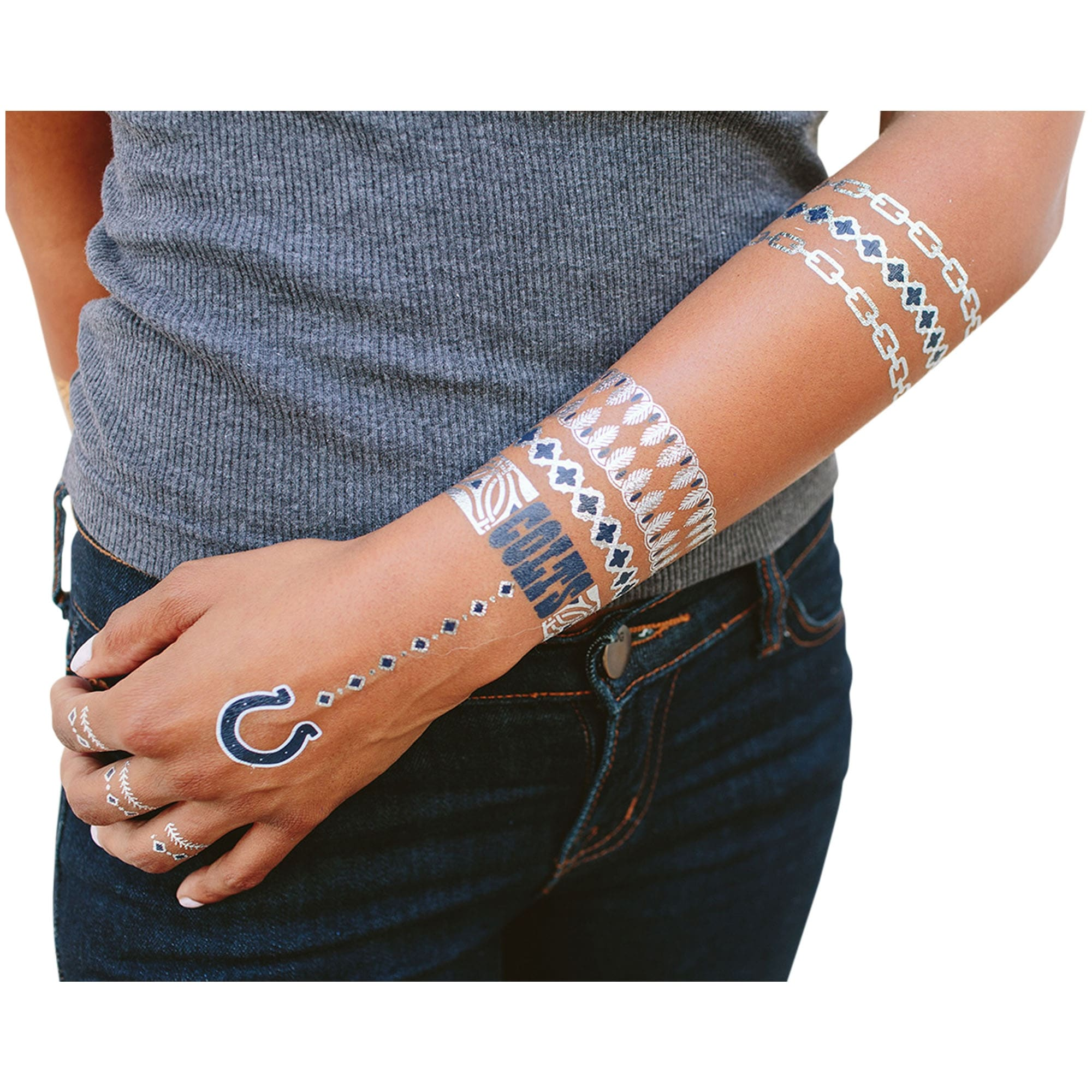 Indianapolis Colts Metallic Fashion Tattoos