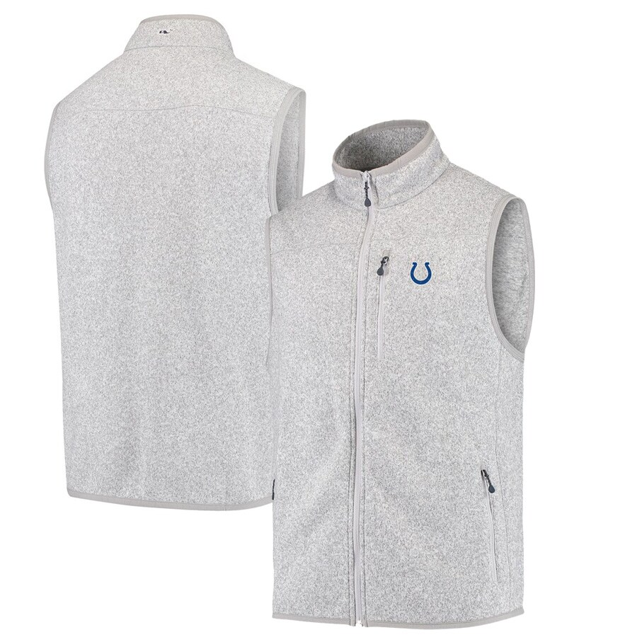 Indianapolis Colts Vineyard Vines Fleece Full-Zip Sweater Vest - Heather Gray