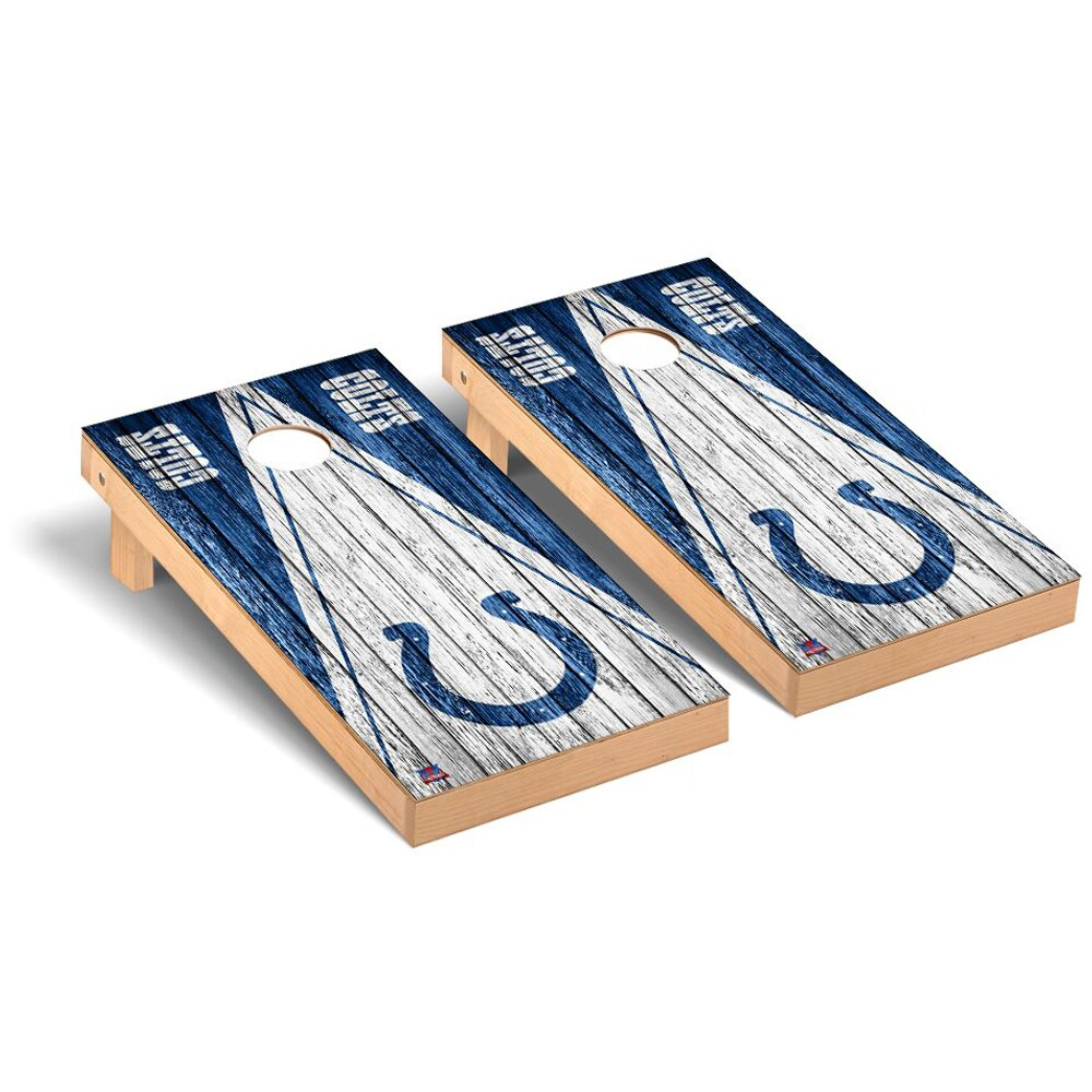 Indianapolis Colts 2' x 4' Triangle Weathered Regulation Cornhole Board Tailgate Toss Set