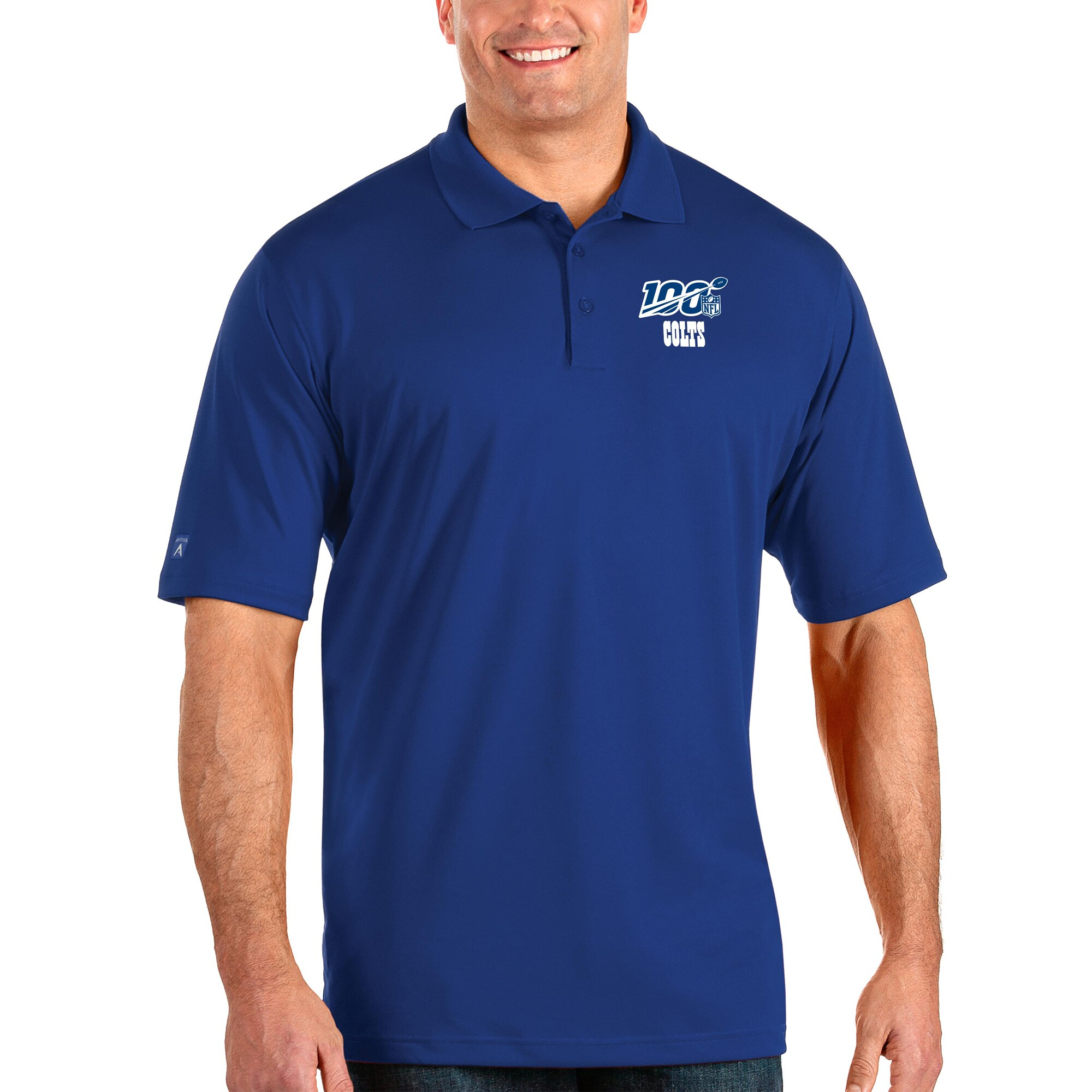 Indianapolis Colts Antigua NFL 100 Big & Tall Pique Xtra-Lite Polo - Royal