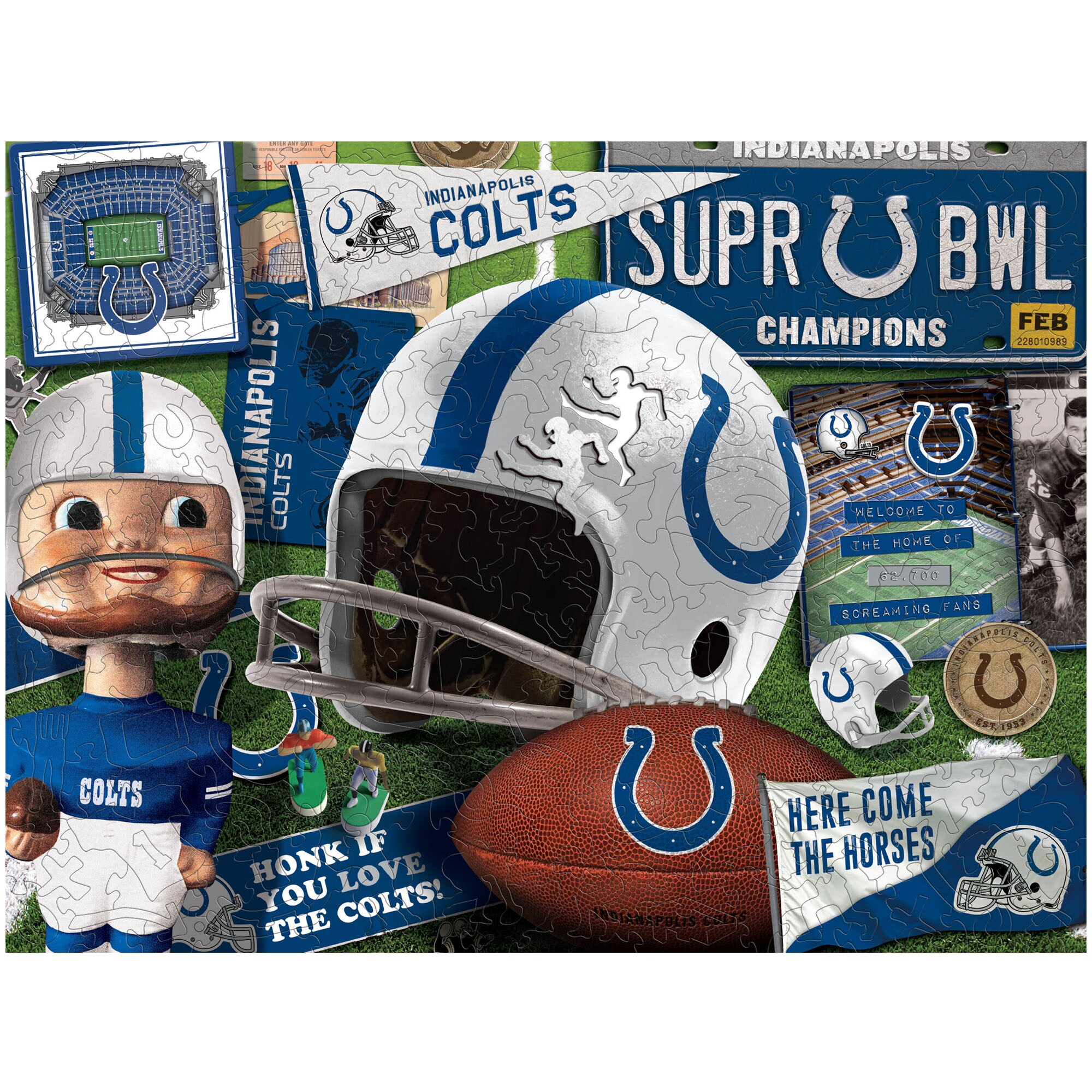 Indianapolis Colts Wooden Retro Series Puzzle