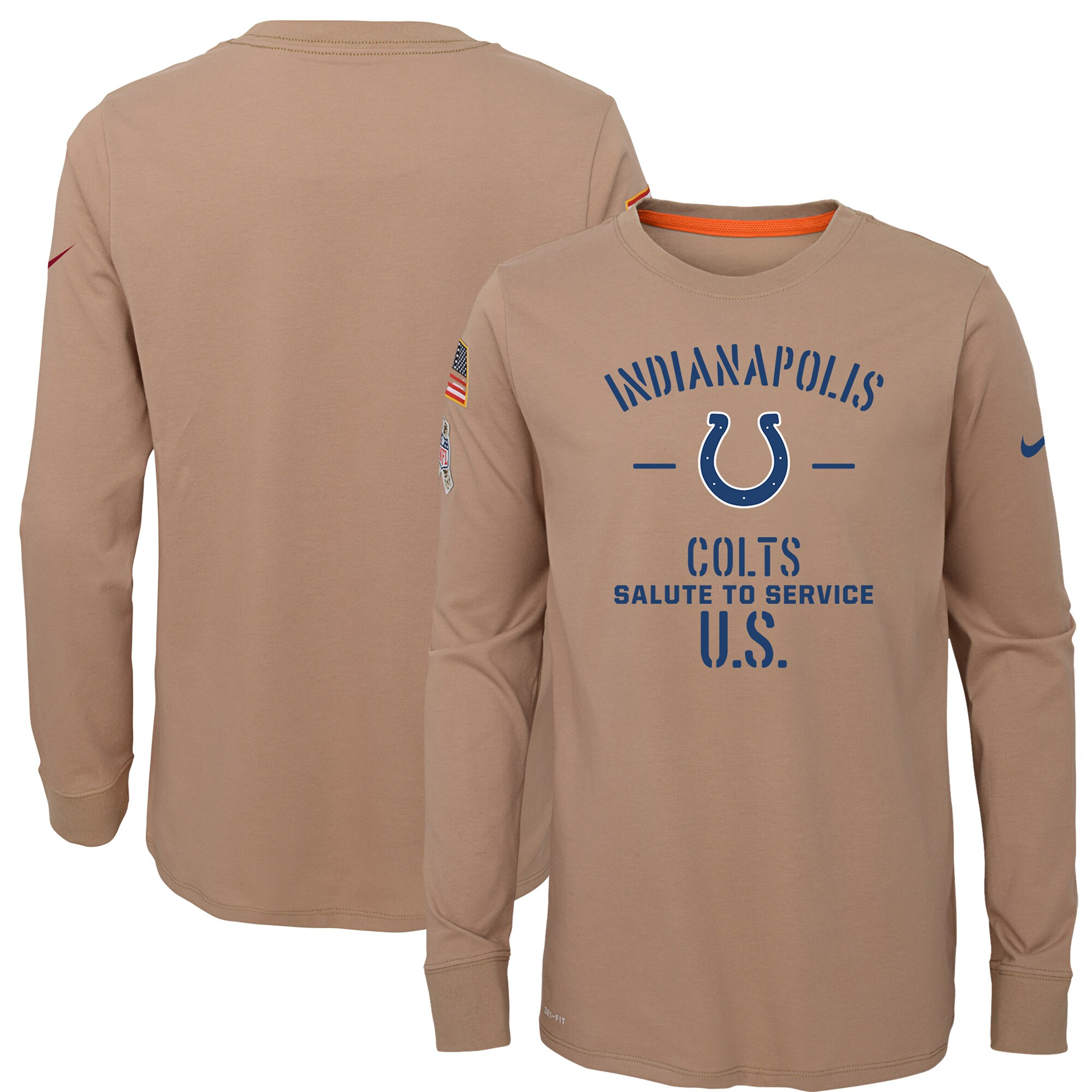 Indianapolis Colts Nike Youth 2019 Salute to Service Performance Long Sleeve T-Shirt - Khaki