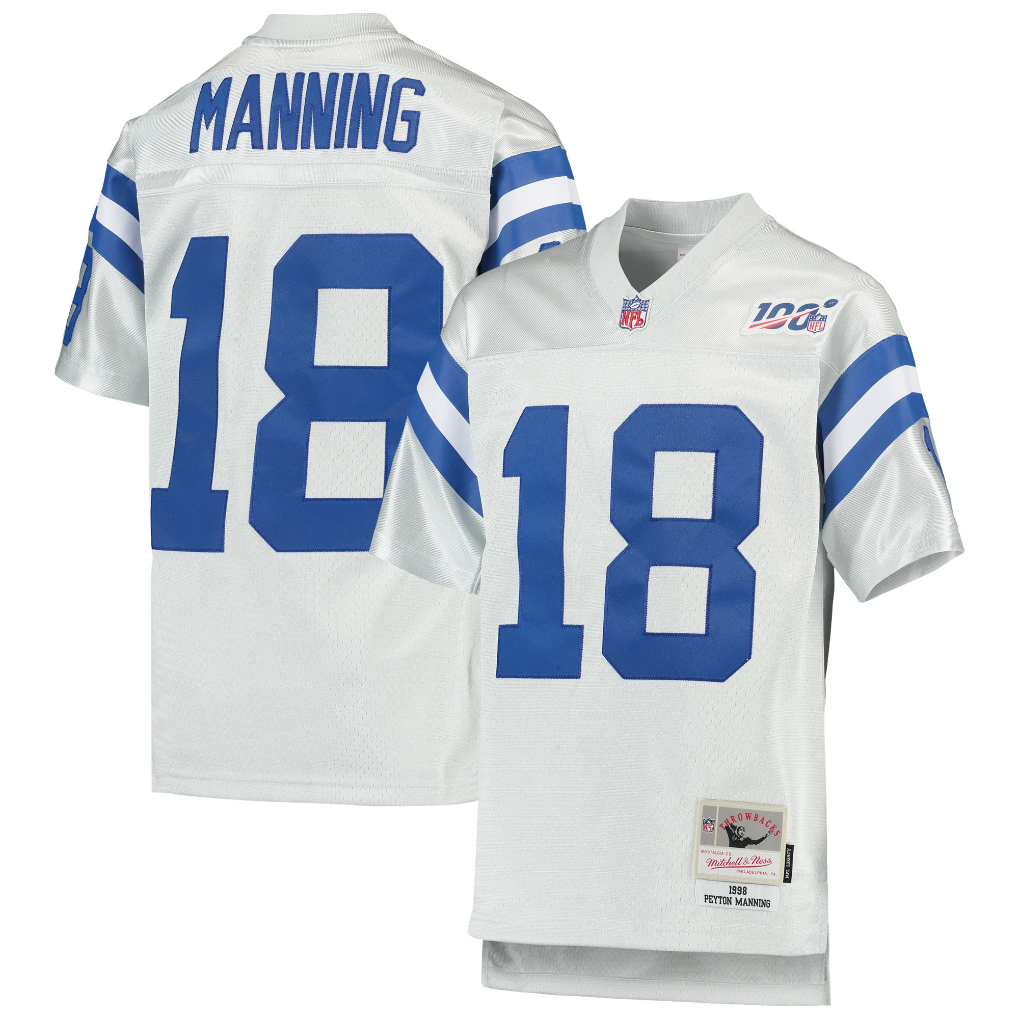 Peyton Manning Indianapolis Colts Mitchell & Ness Youth NFL 100 Retired Player Legacy Jersey - Platinum