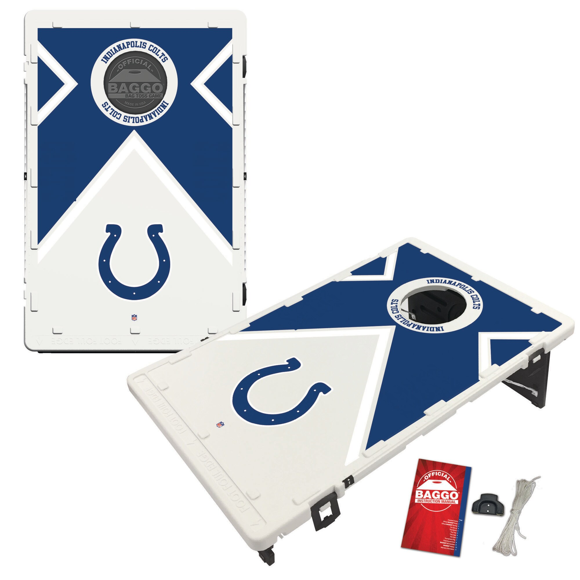 Indianapolis Colts 2' x 3' BAGGO Vintage Cornhole Board Tailgate Toss Set