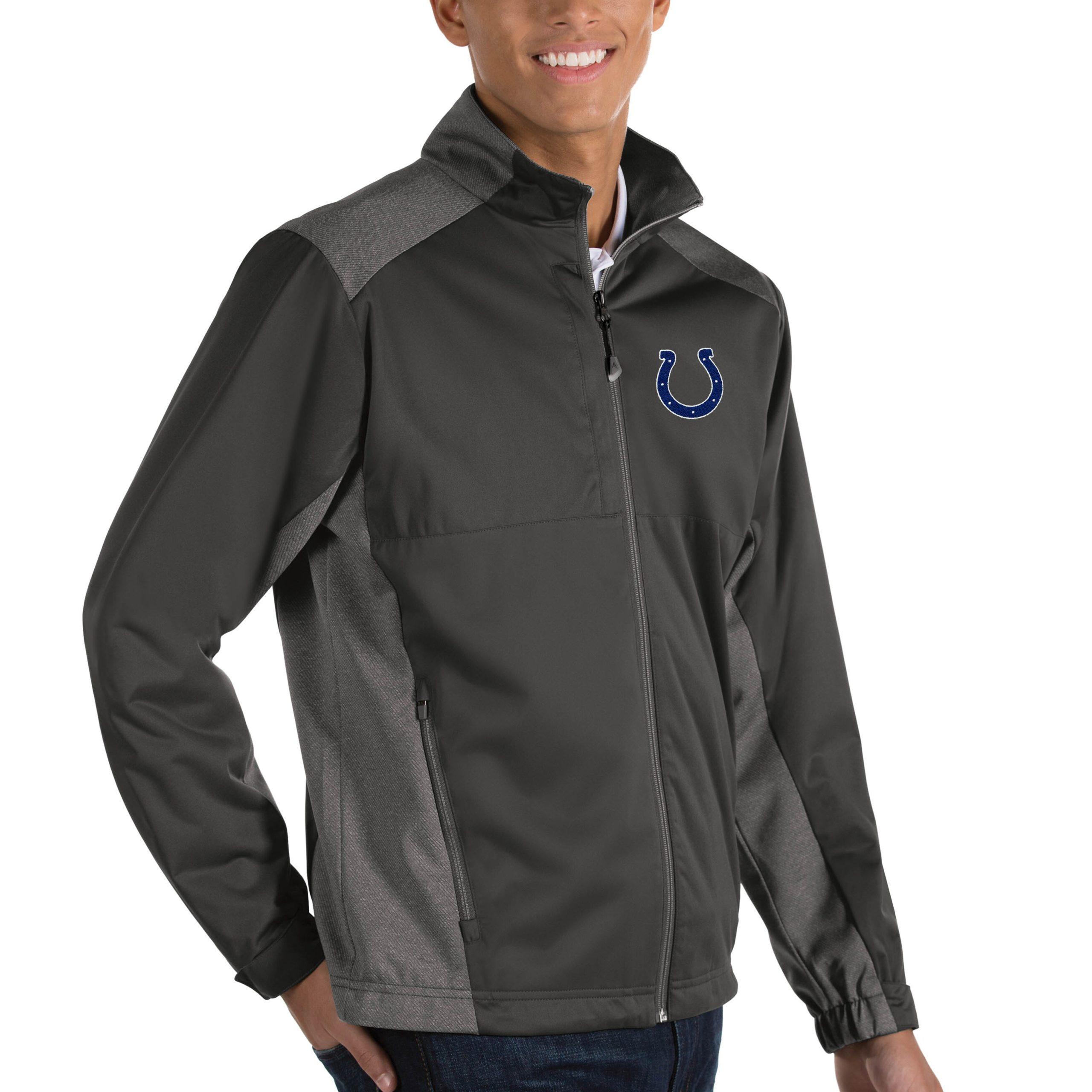 Indianapolis Colts Antigua Revolve Big & Tall Full-Zip Jacket - Heather Charcoal