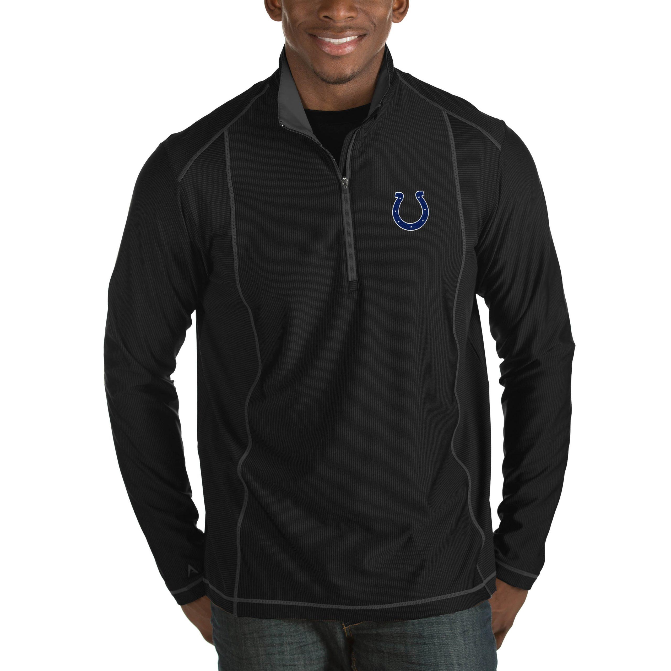 Indianapolis Colts Antigua Tempo Big & Tall Half-Zip Pullover Jacket - Heathered Black