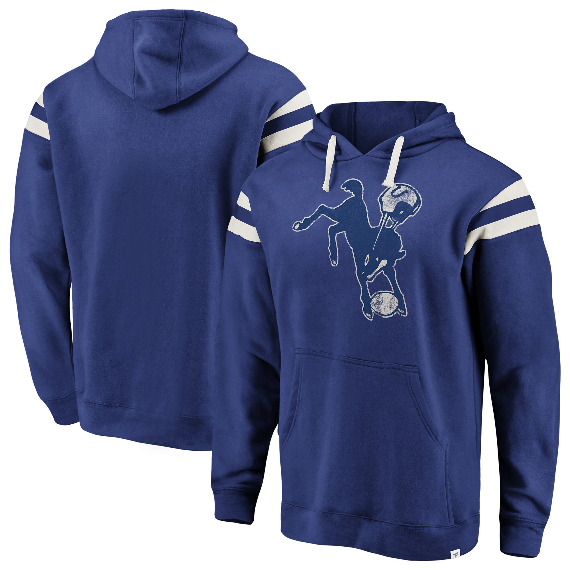 Indianapolis Colts NFL Pro Line by Fanatics Branded Big & Tall True Classics Retro Stripe Pullover Hoodie - Royal