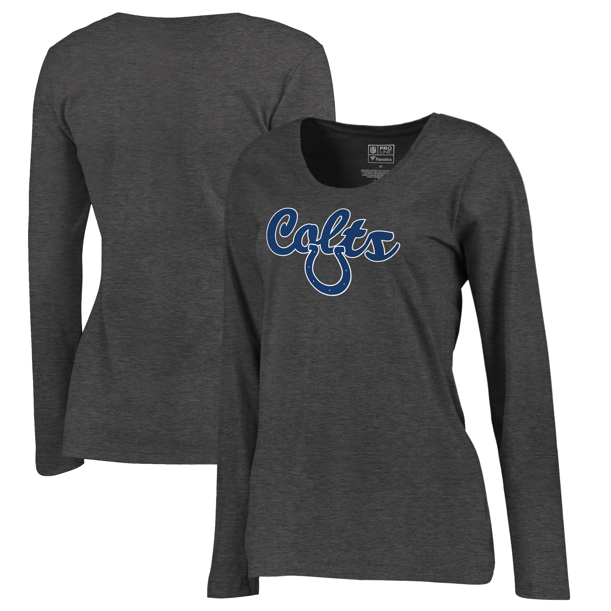 Indianapolis Colts NFL Pro Line by Fanatics Branded Women's Freehand Long Sleeve Plus Size T-Shirt - Dark Heathered Gray