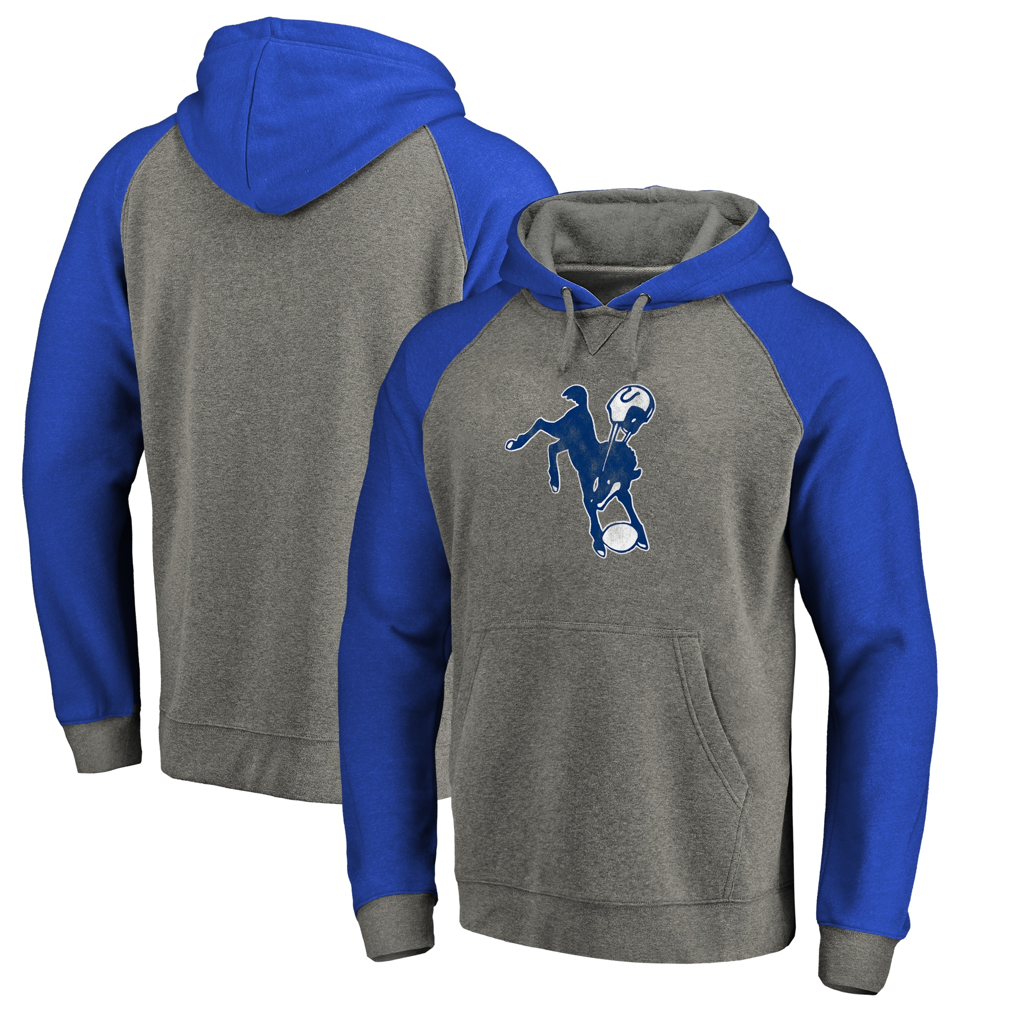 Indianapolis Colts NFL Pro Line by Fanatics Branded Throwback Logo Tri-Blend Raglan Pullover Hoodie - Gray/Royal