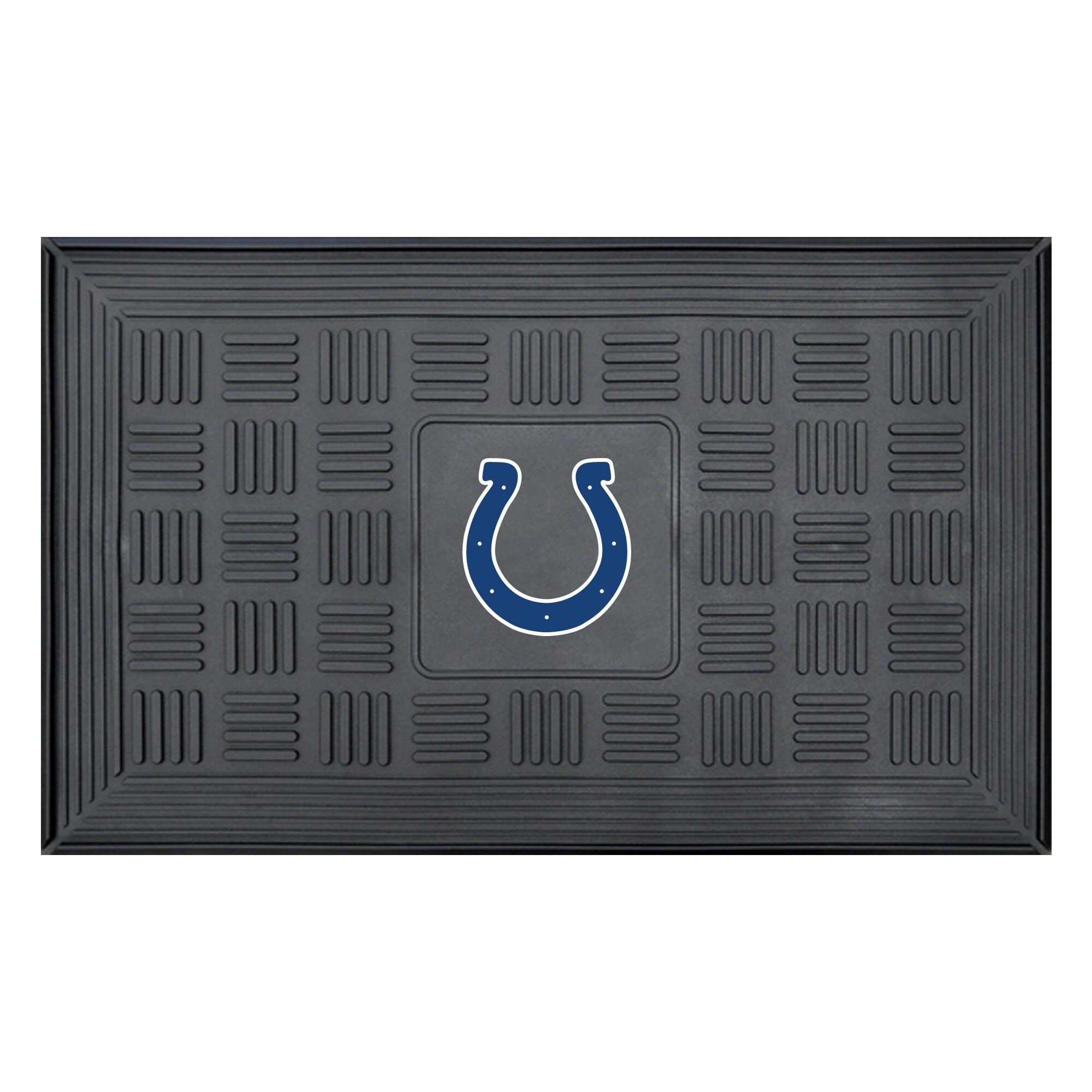 """Indianapolis Colts 19"""" x 30"""" Vinyl Medallion Door Mat - Black"""