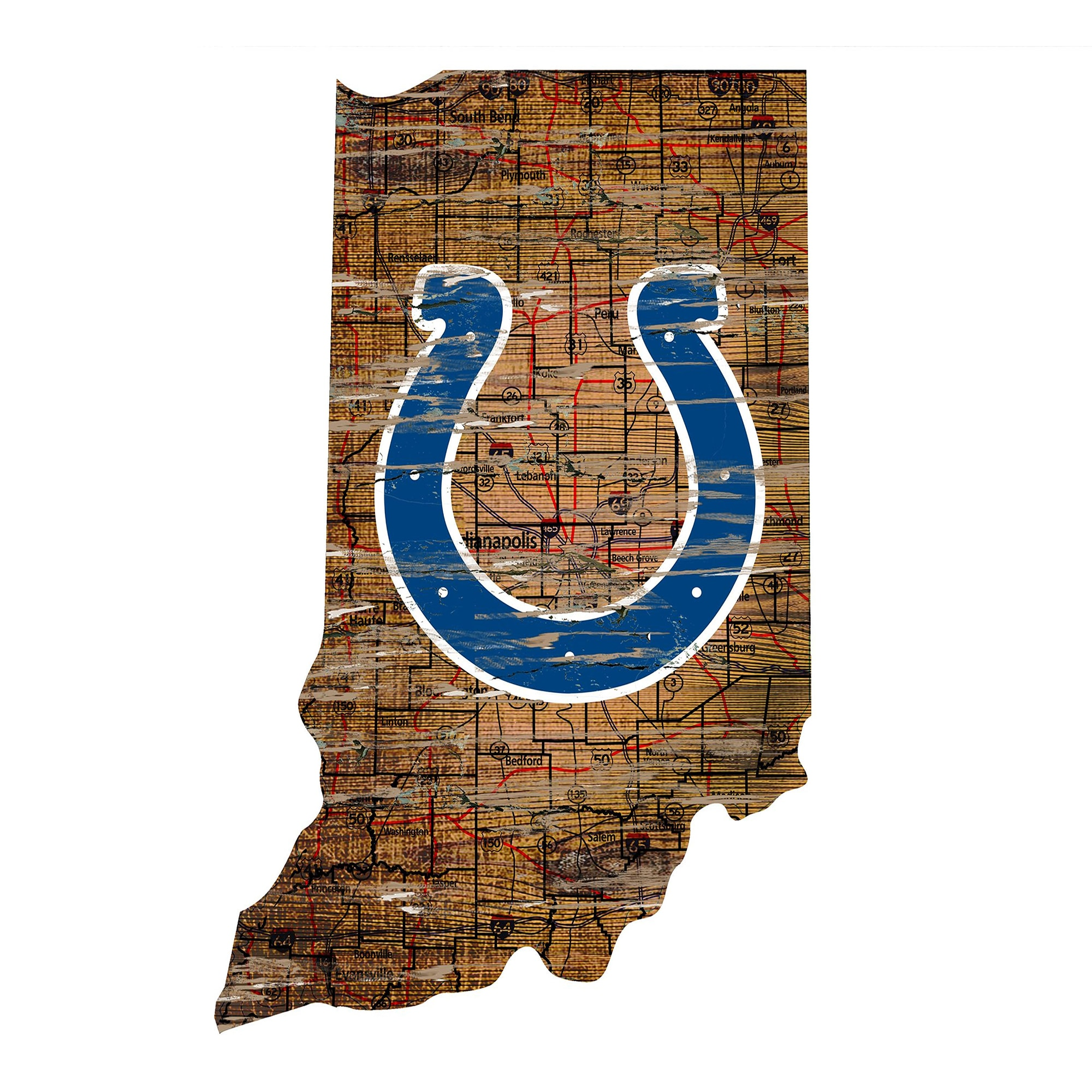 "Indianapolis Colts 23.5"" x 23.5"" Distressed State with Logo Sign"