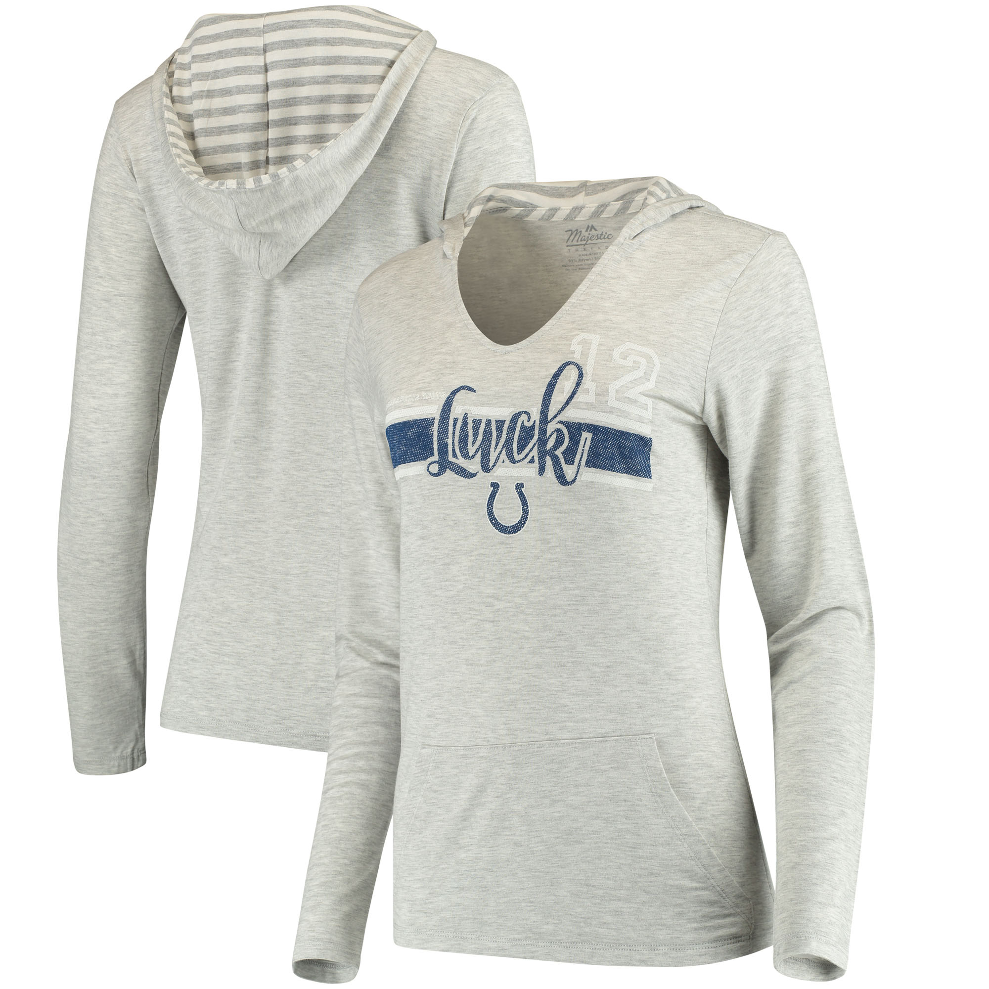 Andrew Luck Indianapolis Colts Women's Pocket Name & Number Hoodie T-Shirt - Gray