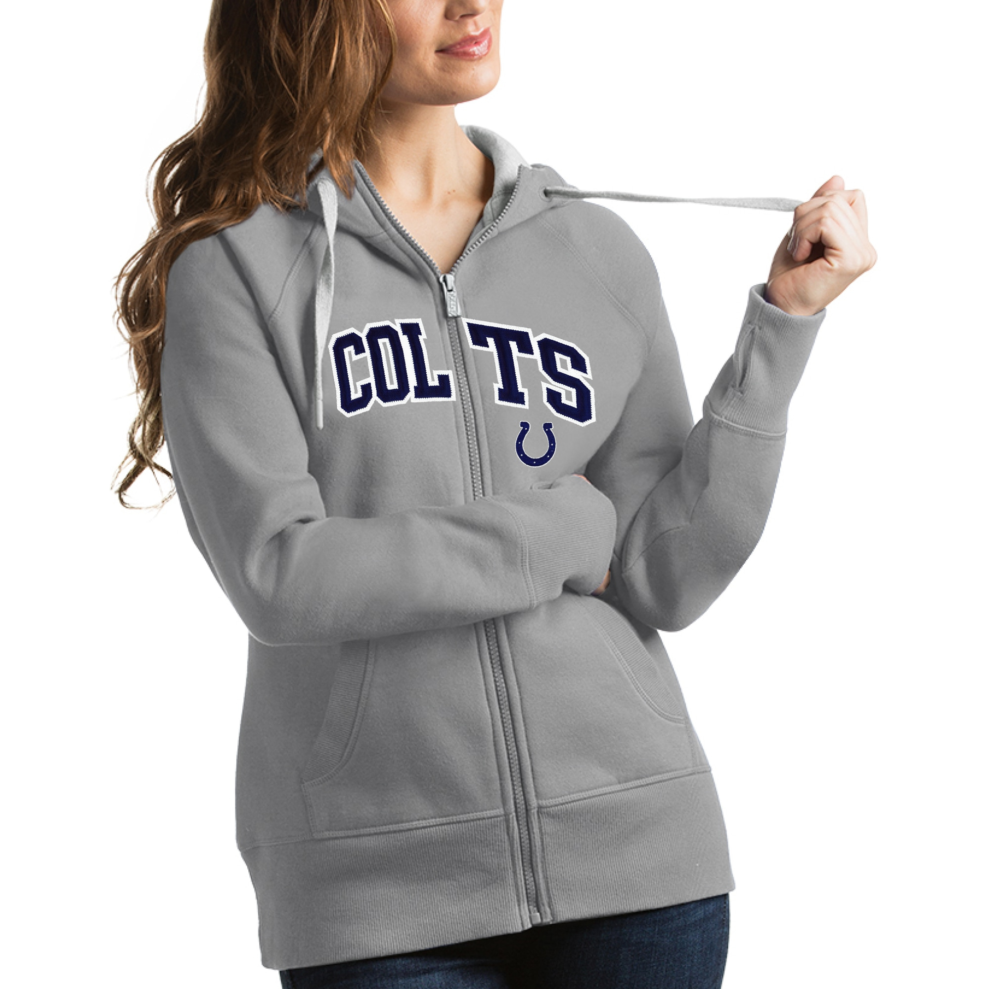 Indianapolis Colts Antigua Women's Victory Full-Zip Hoodie - Gray