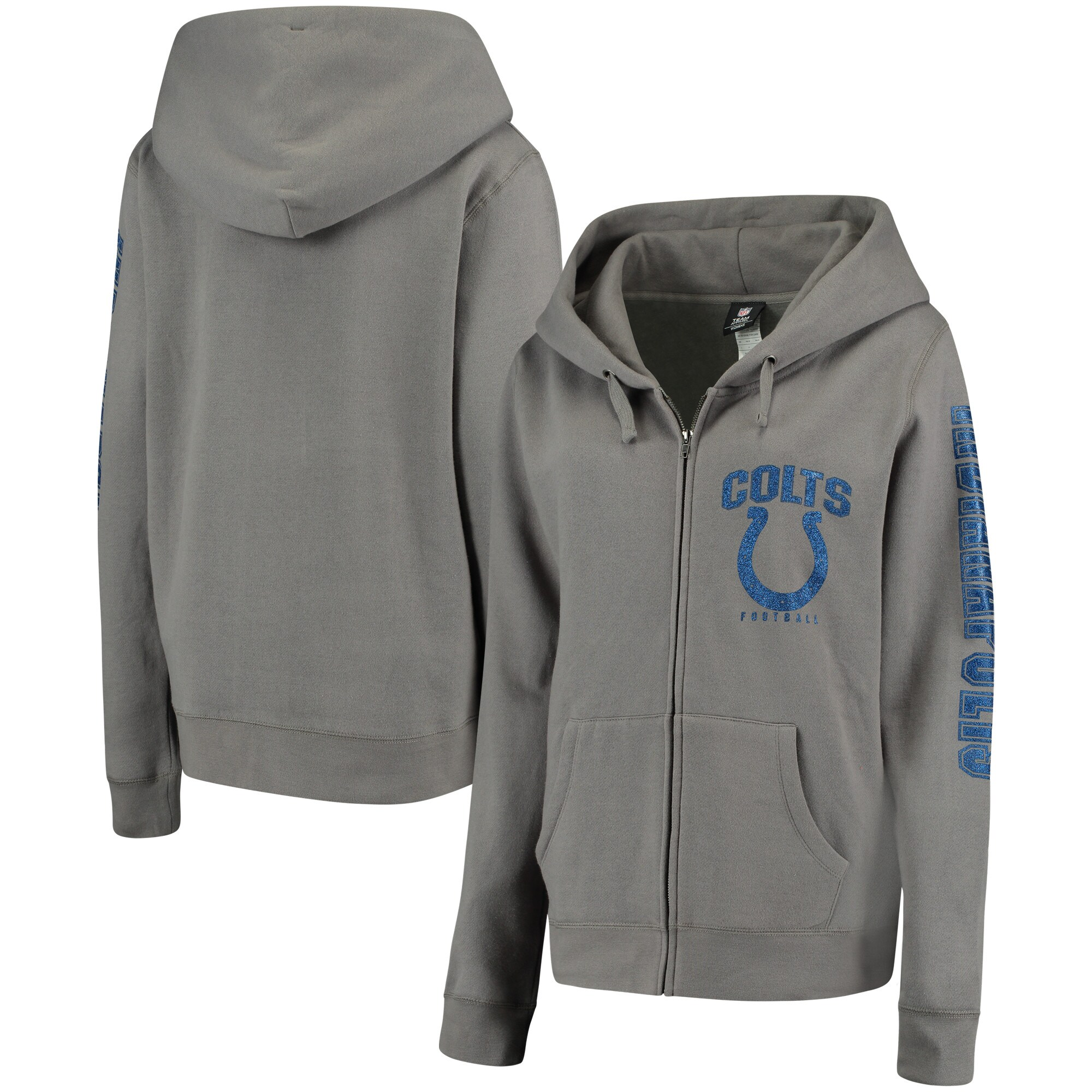 Indianapolis Colts New Era Women's Playbook Glitter Sleeve Full-Zip Hoodie - Gray