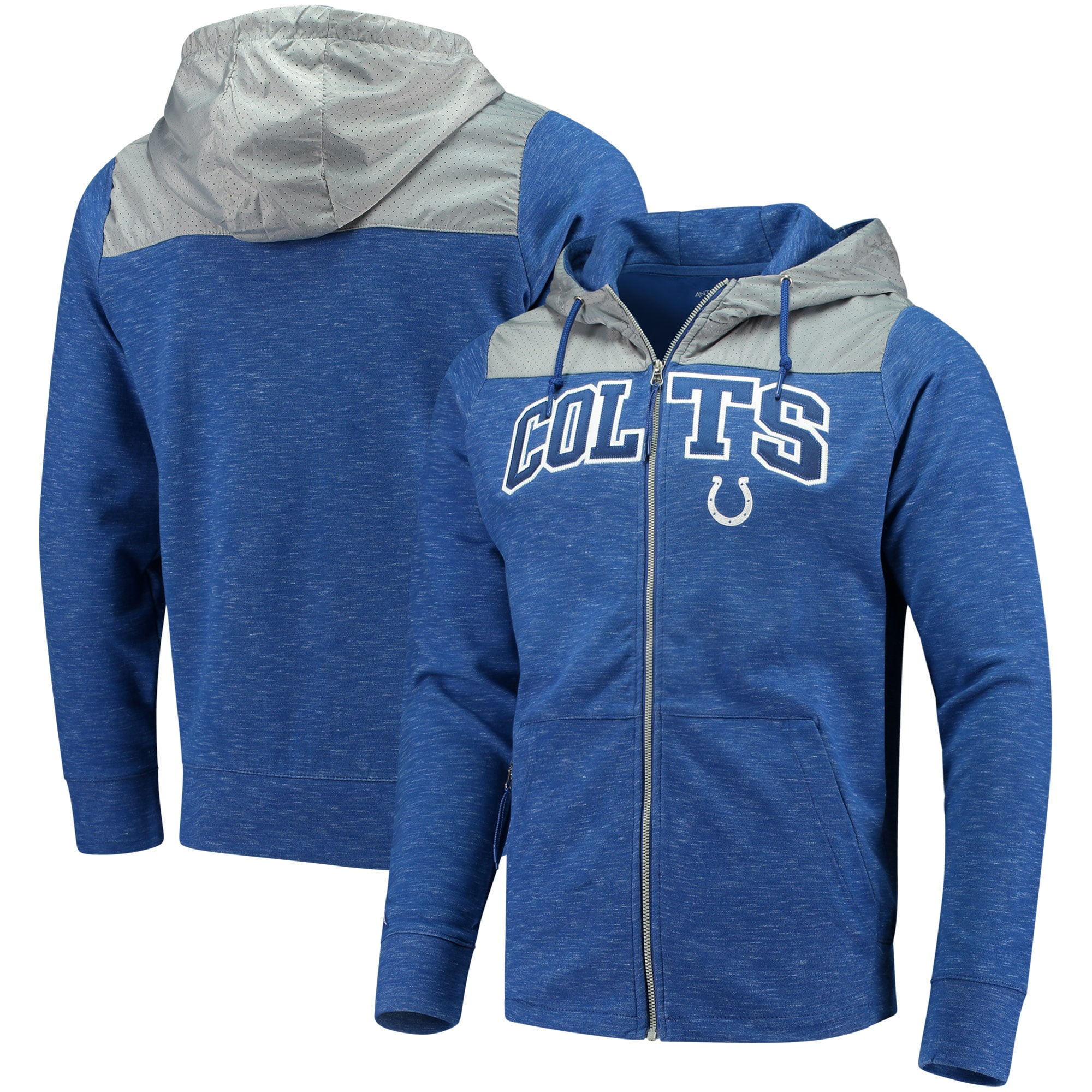 Indianapolis Colts Antigua Exertion Full-Zip Hoodie - Royal/Silver