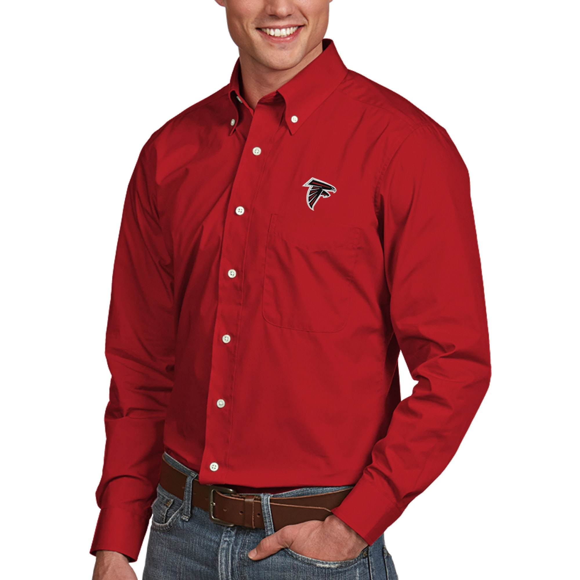 Atlanta Falcons Antigua Dynasty Woven Long Sleeve Shirt - Red