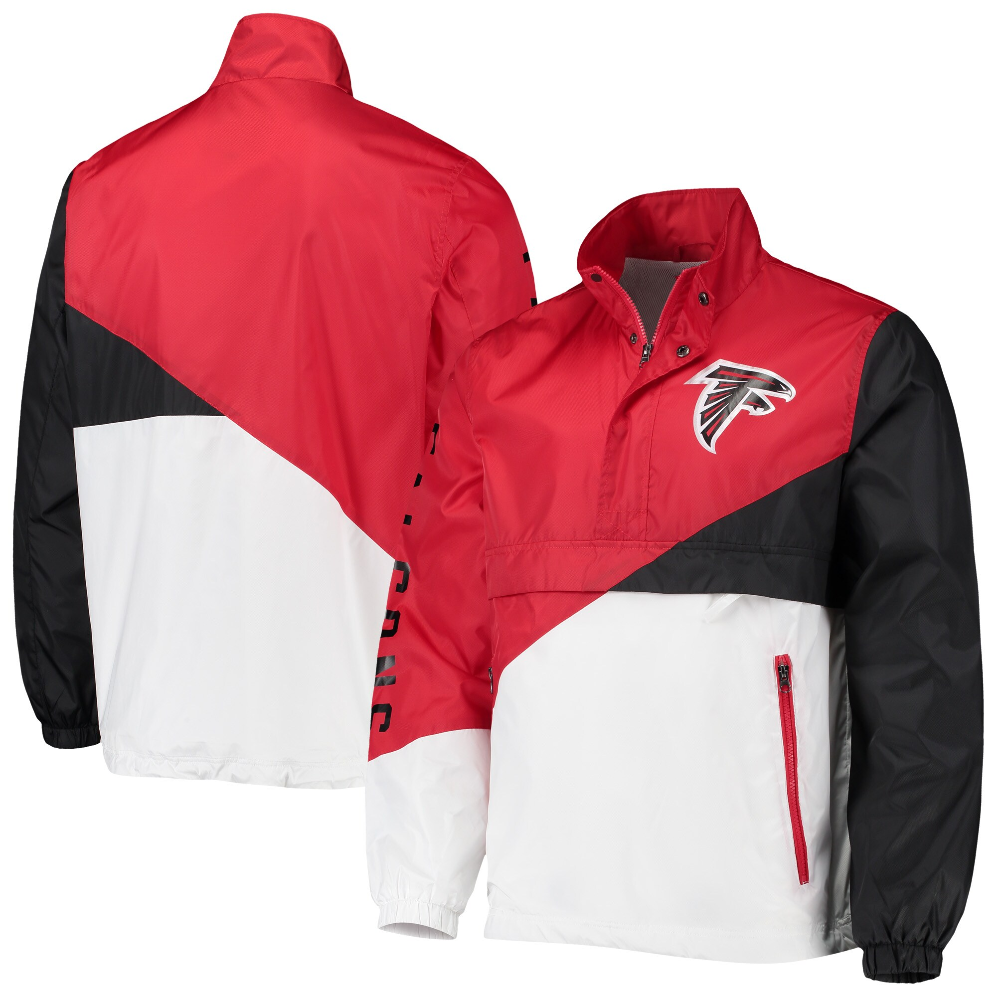 Atlanta Falcons G-III Sports by Carl Banks Double Team Half-Zip Pullover Jacket - Red/White