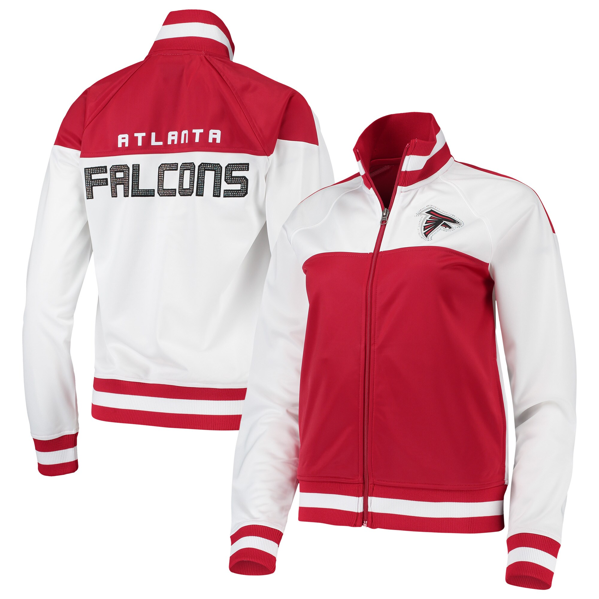 Atlanta Falcons G-III 4Her by Carl Banks Women's Face Off Raglan Full-Zip Track Jacket - White/Red