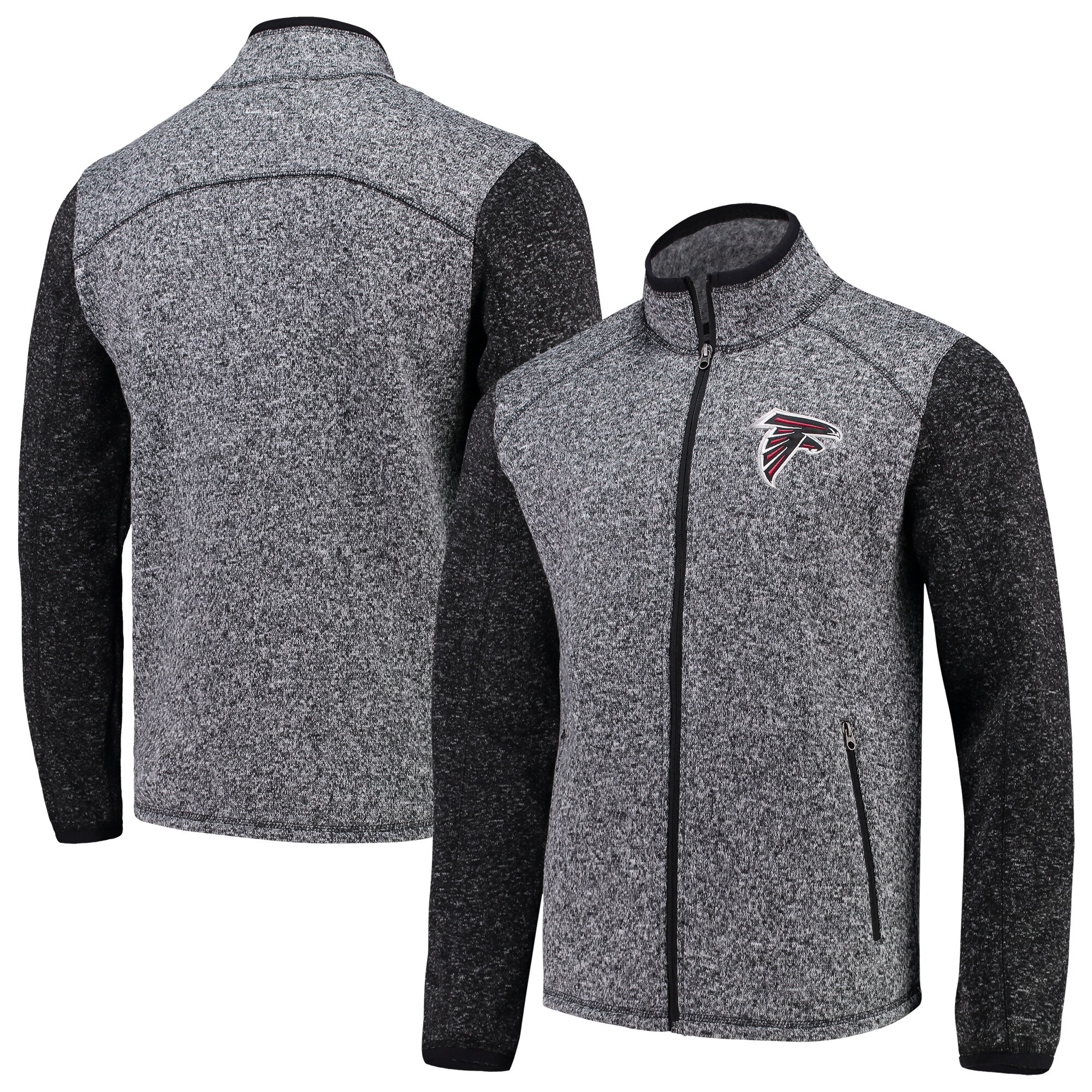 Atlanta Falcons G-III Sports by Carl Banks Alpine Zone Sweater Fleece Full-Zip Jacket - Heathered Charcoal