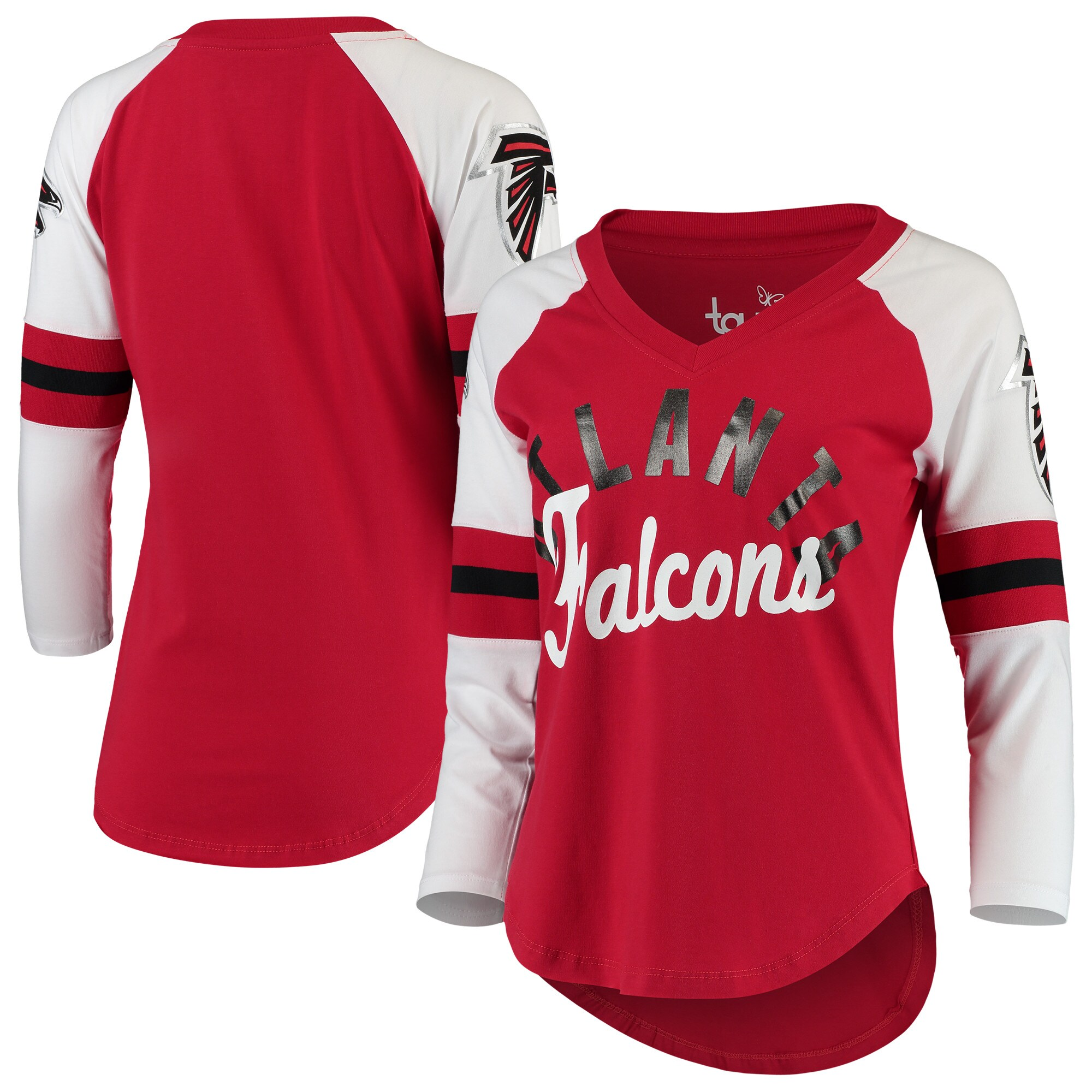 Atlanta Falcons Touch by Alyssa Milano Women's Reflex 3/4-Sleeve Raglan V-Neck T-Shirt - Red/White