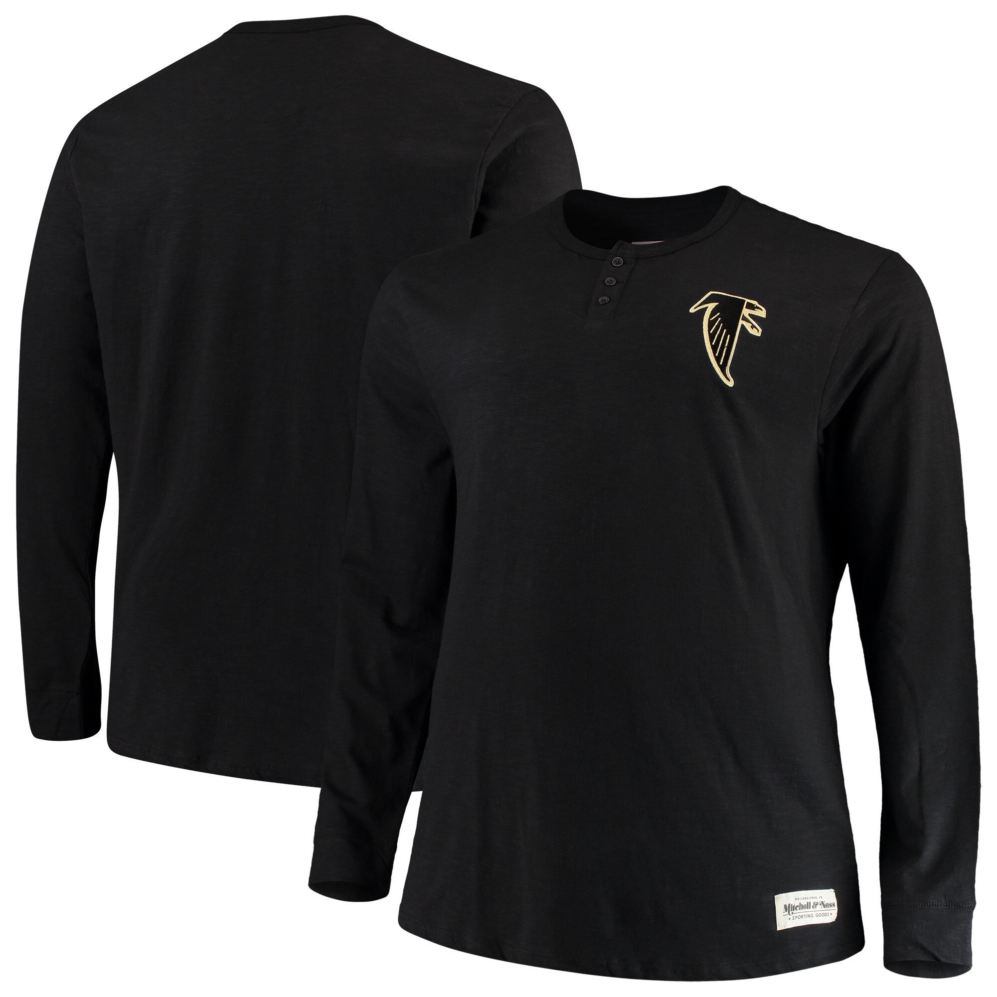 Atlanta Falcons Mitchell & Ness Big & Tall First Round Pick Long Sleeve Henley T-Shirt - Black