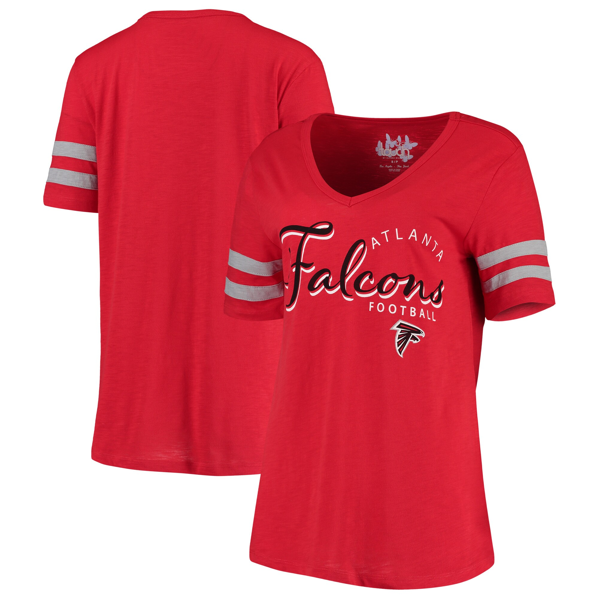 Atlanta Falcons Touch by Alyssa Milano Women's Triple Play V-Neck T-Shirt - Red