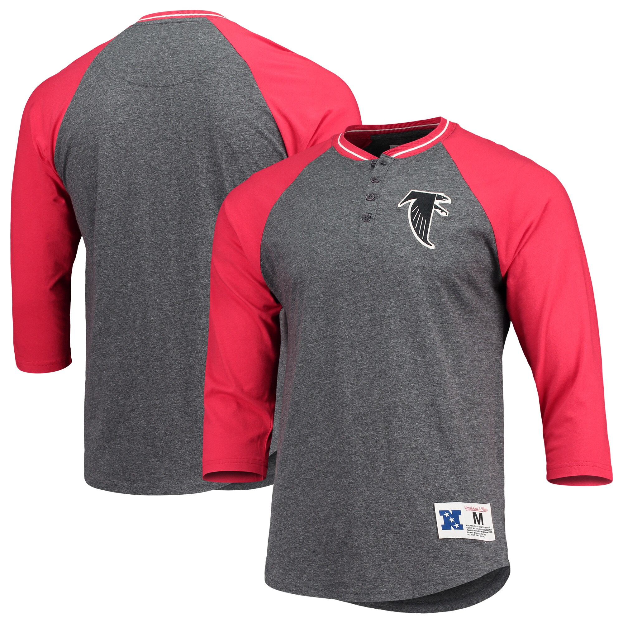 Atlanta Falcons Mitchell & Ness 3/4-Sleeve Raglan Henley T-Shirt - Charcoal/Red