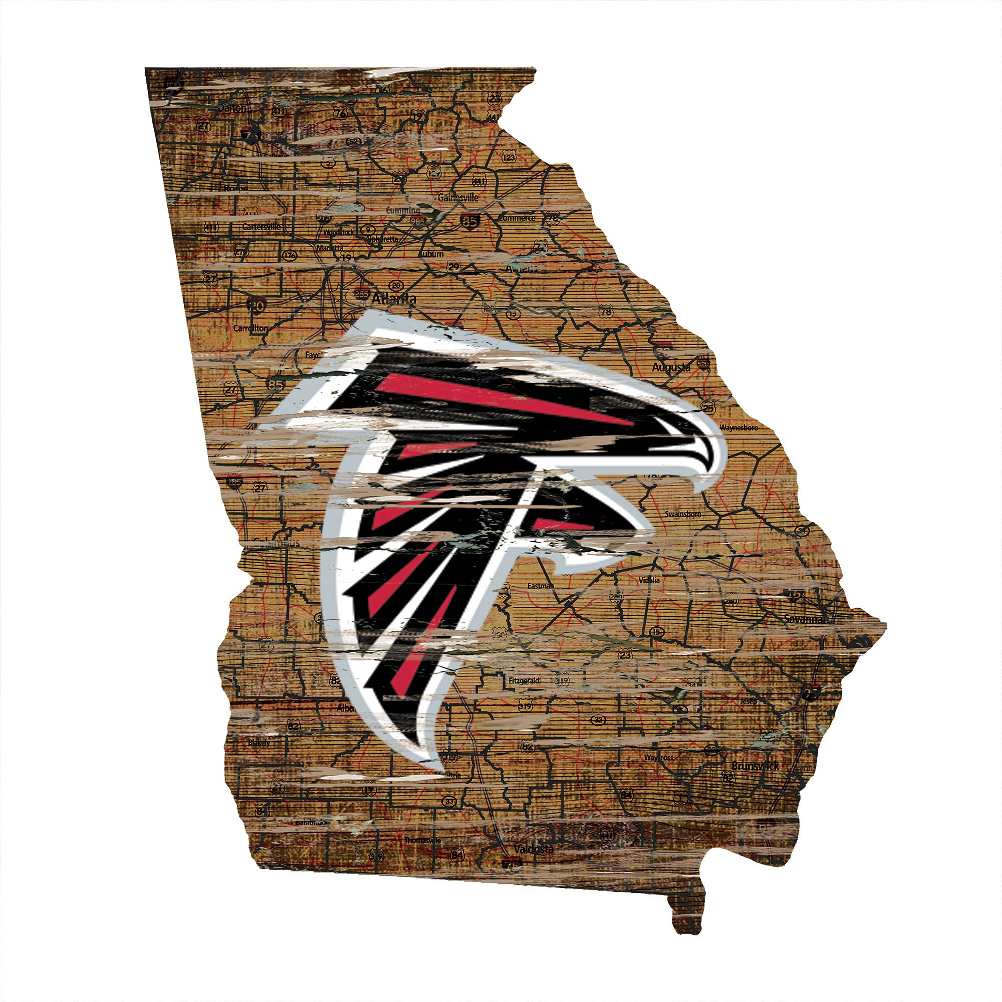 "Atlanta Falcons 23.5"" x 23.5"" Distressed State with Logo Sign"