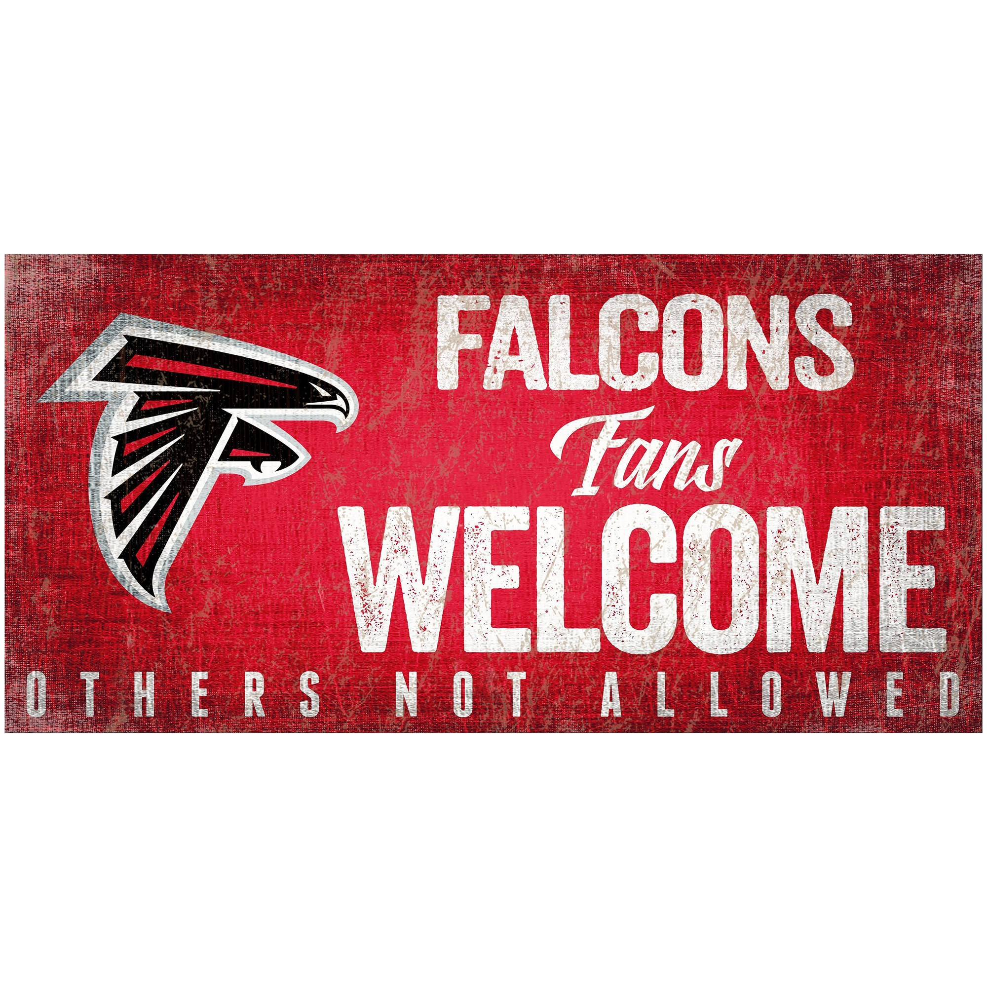 "Atlanta Falcons 6"" x 12"" Fans Welcome Sign"
