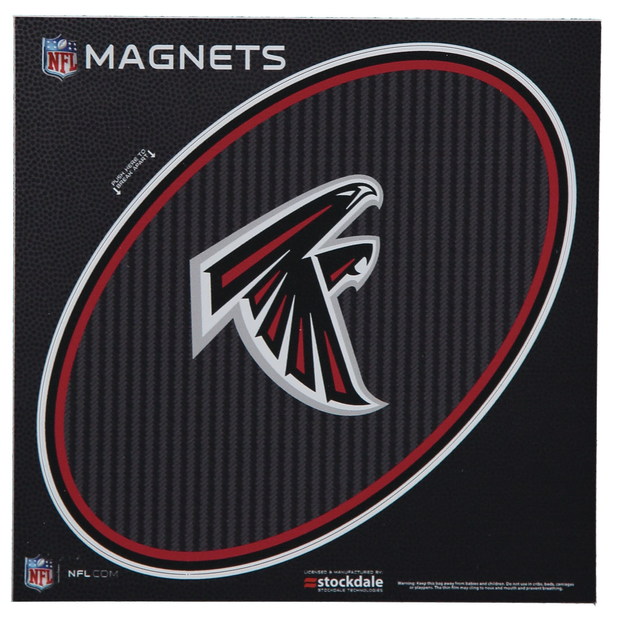 "Atlanta Falcons Carbon 6"" x 6"" Oval Full Color Magnet"