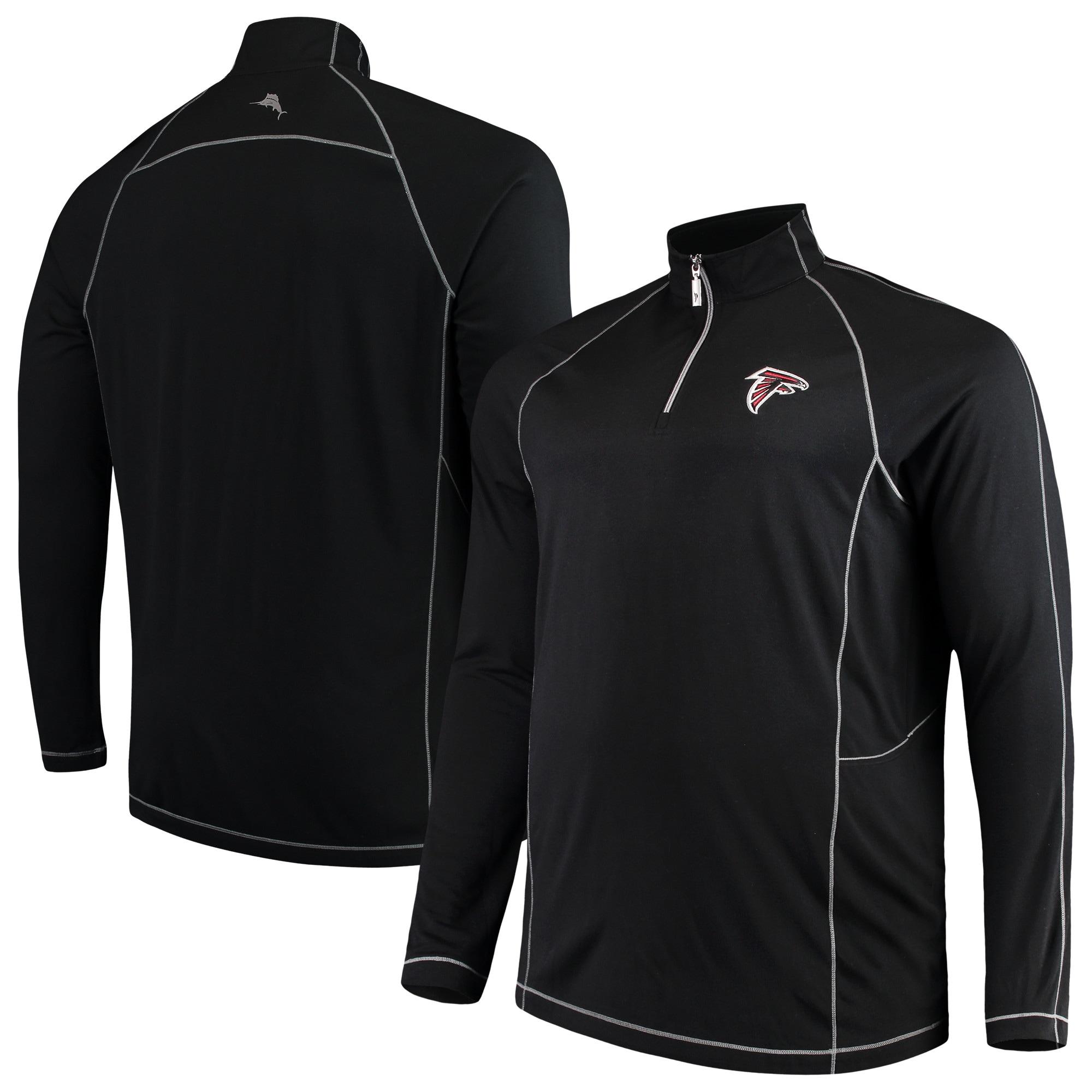 Atlanta Falcons Tommy Bahama Big & Tall Goal Keeper Raglan Quarter-Zip Pullover Sweater - Black