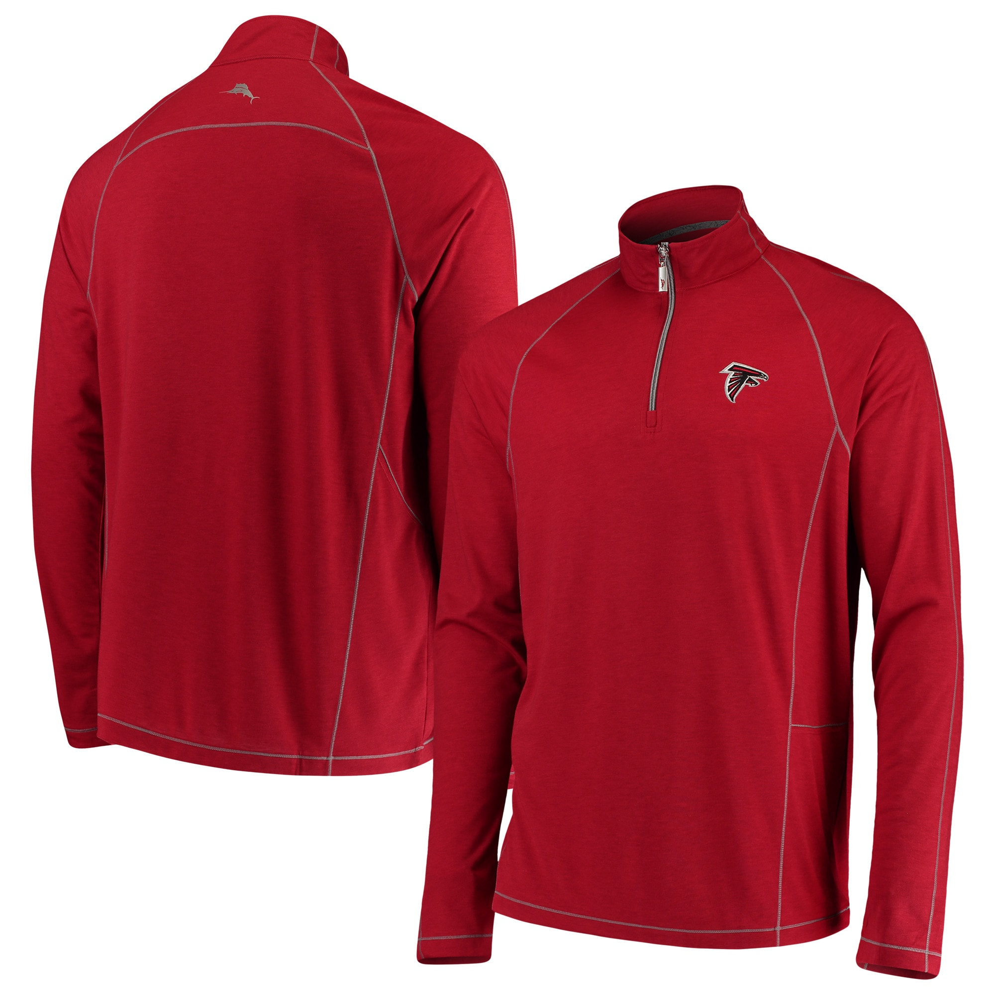 Atlanta Falcons Tommy Bahama Goal Keeper Raglan Quarter-Zip Pullover Sweater - Red