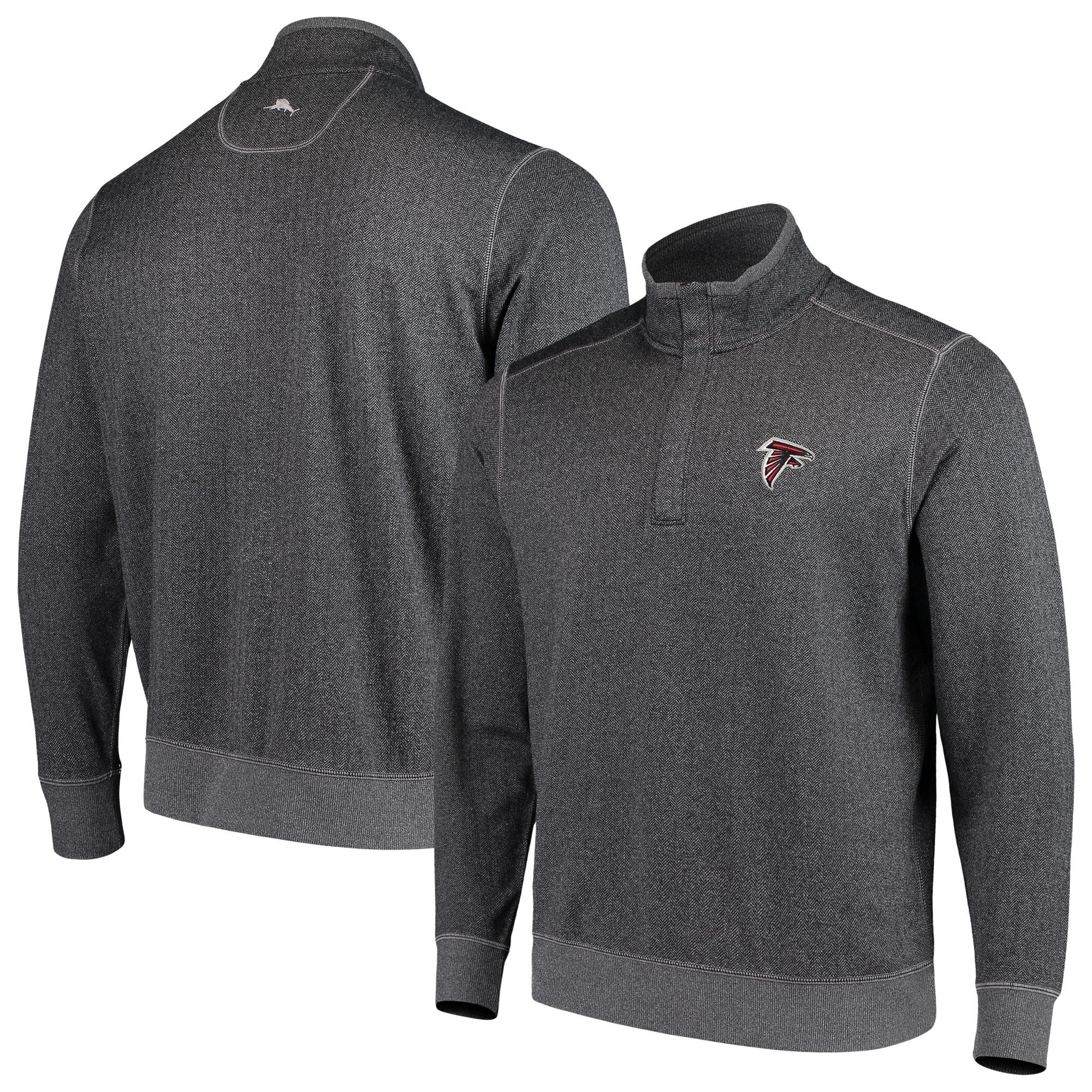 Atlanta Falcons Tommy Bahama ProFormance Half-Zip Pullover Jacket - Heathered Charcoal